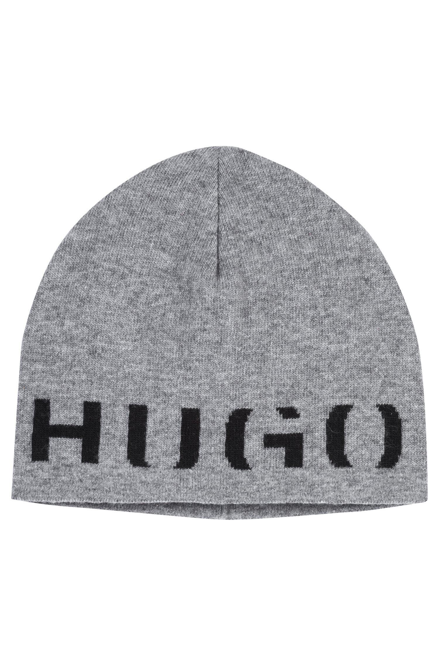 Mütze aus Material-Mix mit Kaschmir und Logo, Hellgrau