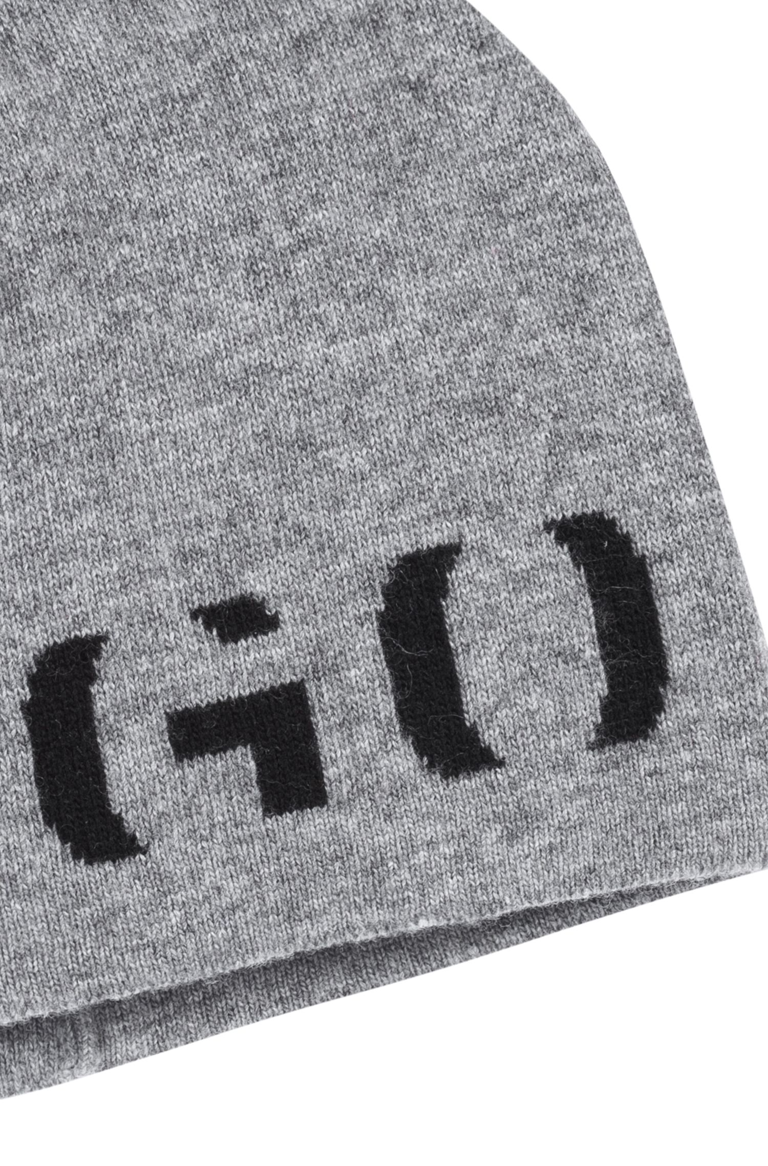 Logo beanie hat in a technical blend with cashmere, Light Grey