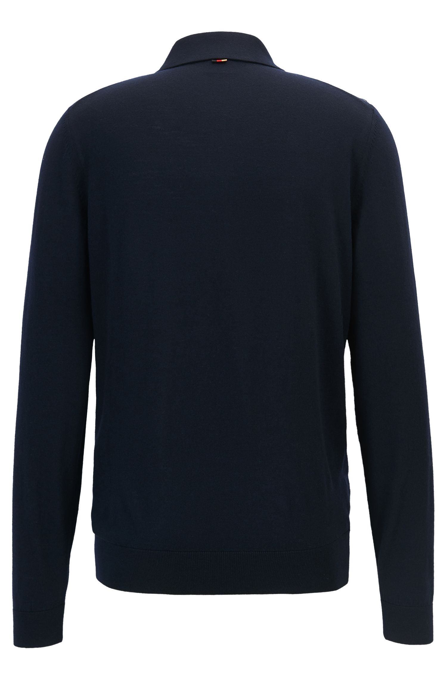 Sweater in virgin wool with polo collar, Dark Blue
