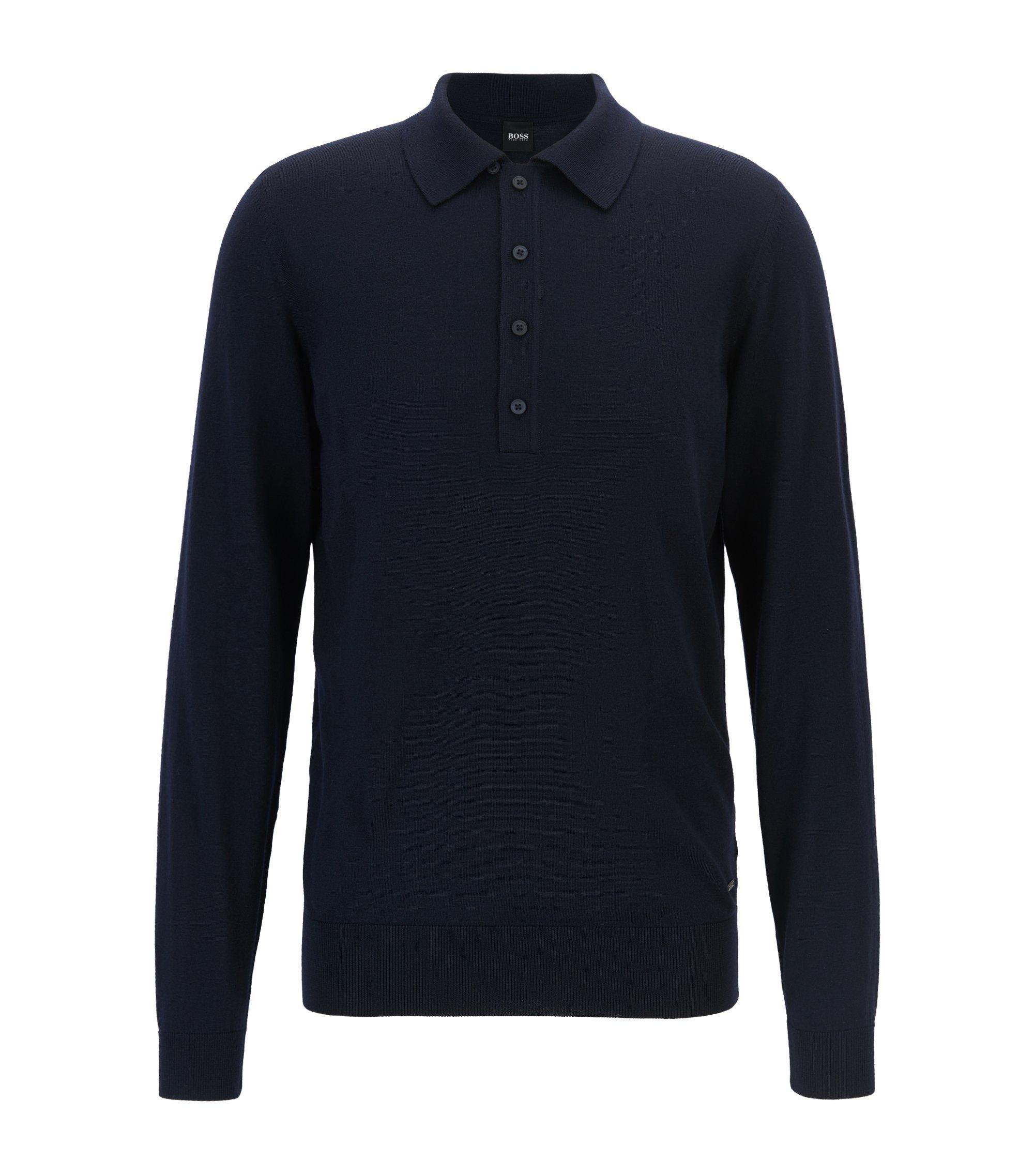 Maglione in lana vergine con colletto polo, Blu scuro