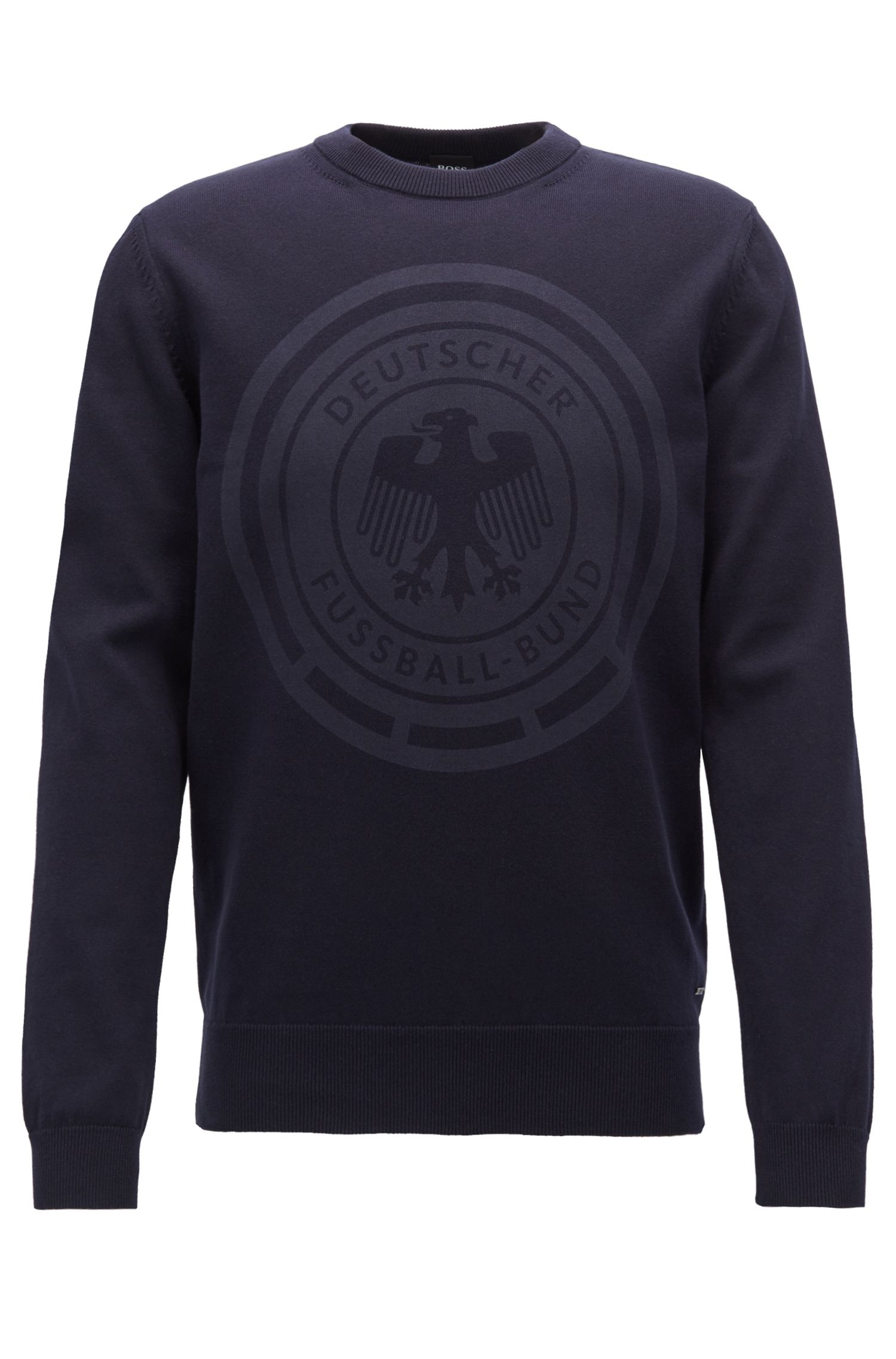 Cotton sweatshirt with logo print, Dark Blue