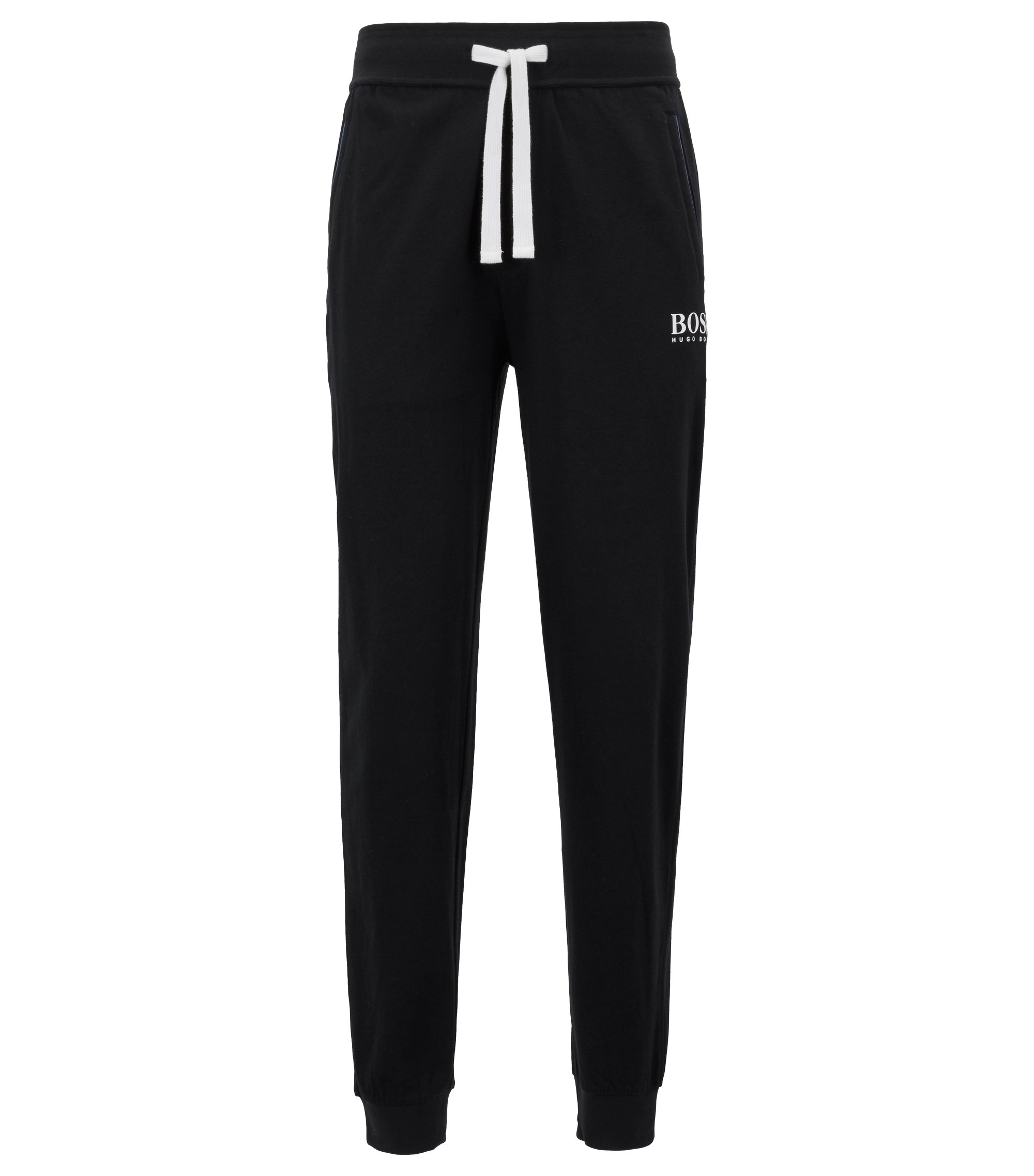 Cuffed loungewear trousers in heavyweight single-jersey cotton, Black