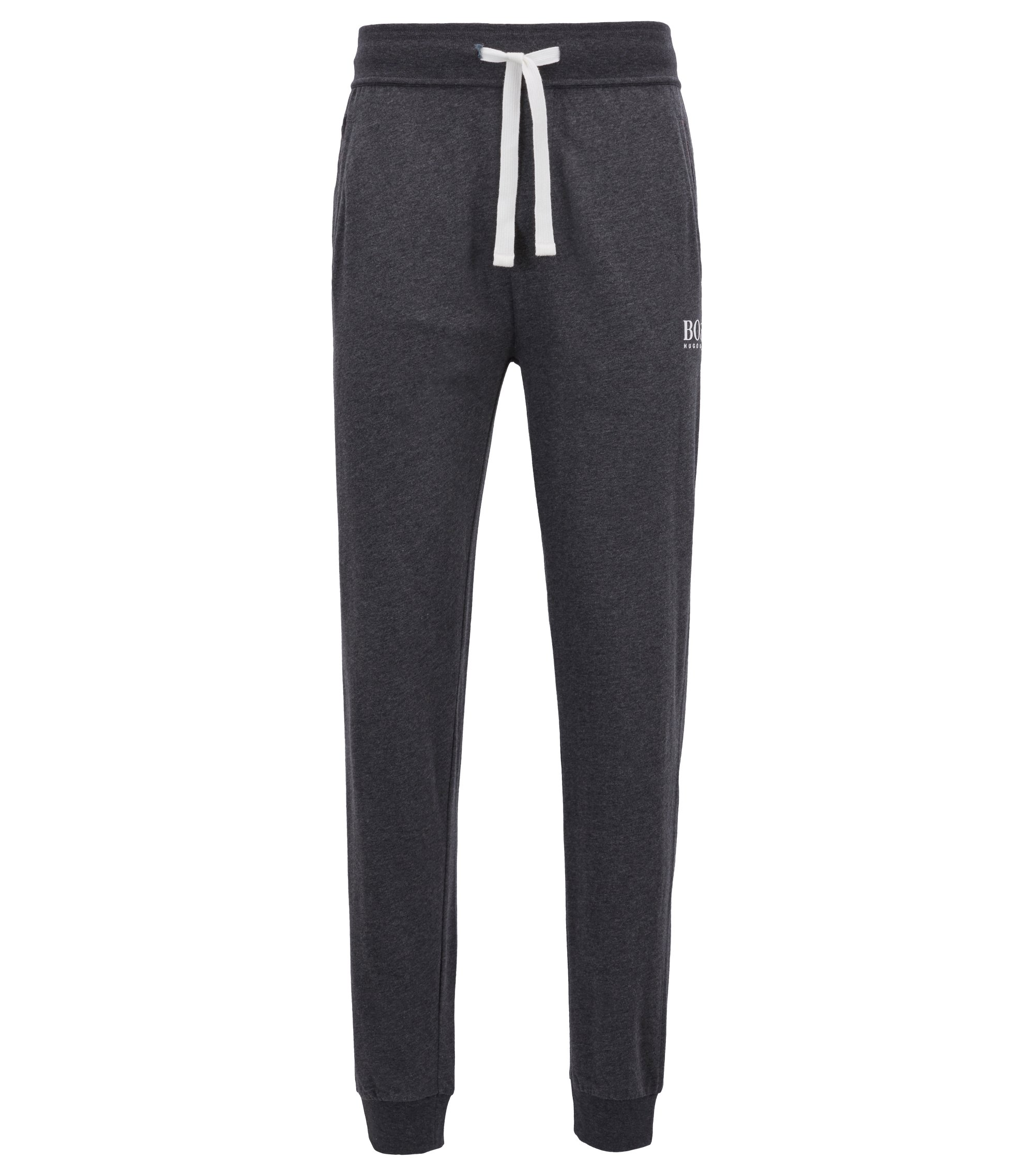 Cuffed loungewear trousers in heavyweight single-jersey cotton, Grey