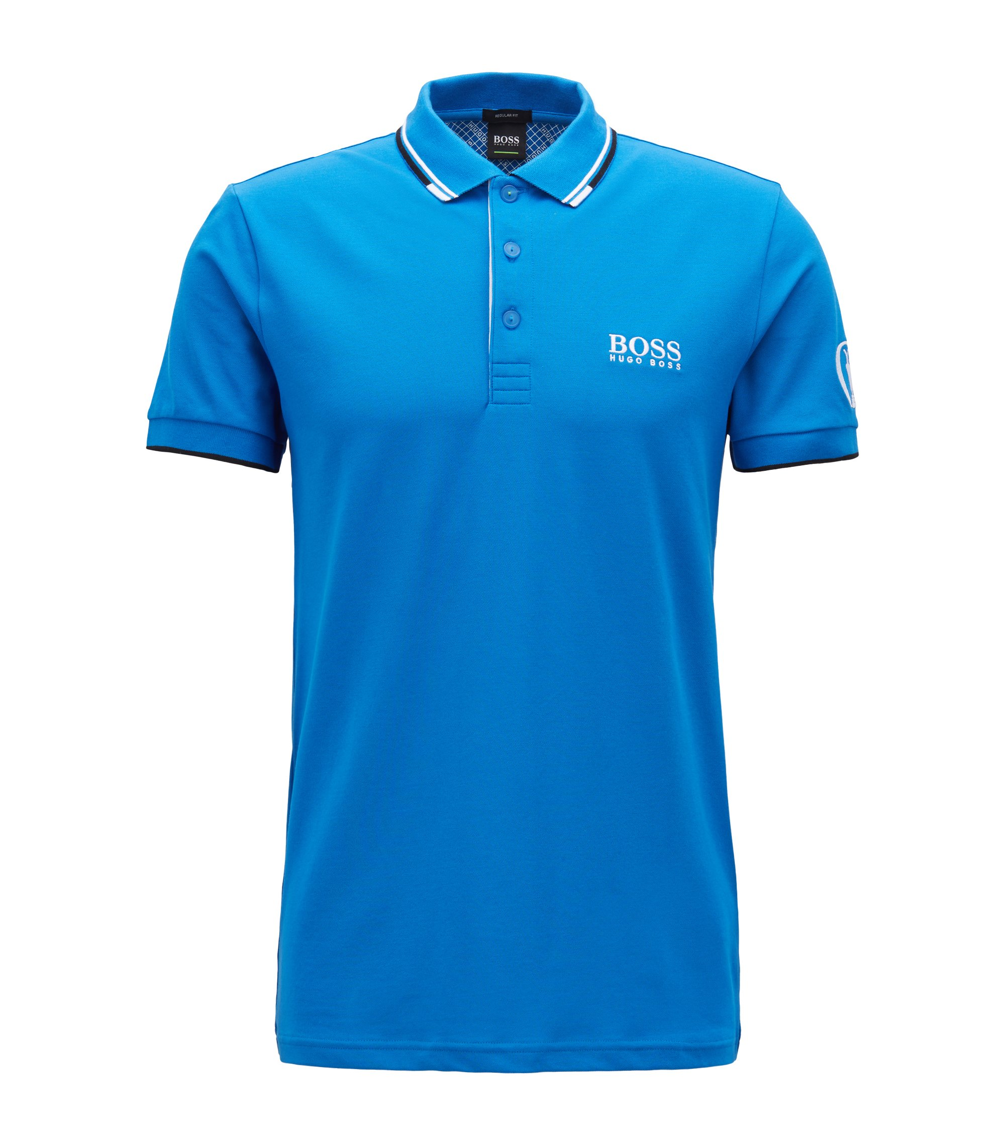 The Open Exclusive piqué polo shirt with stitching detail, Blue
