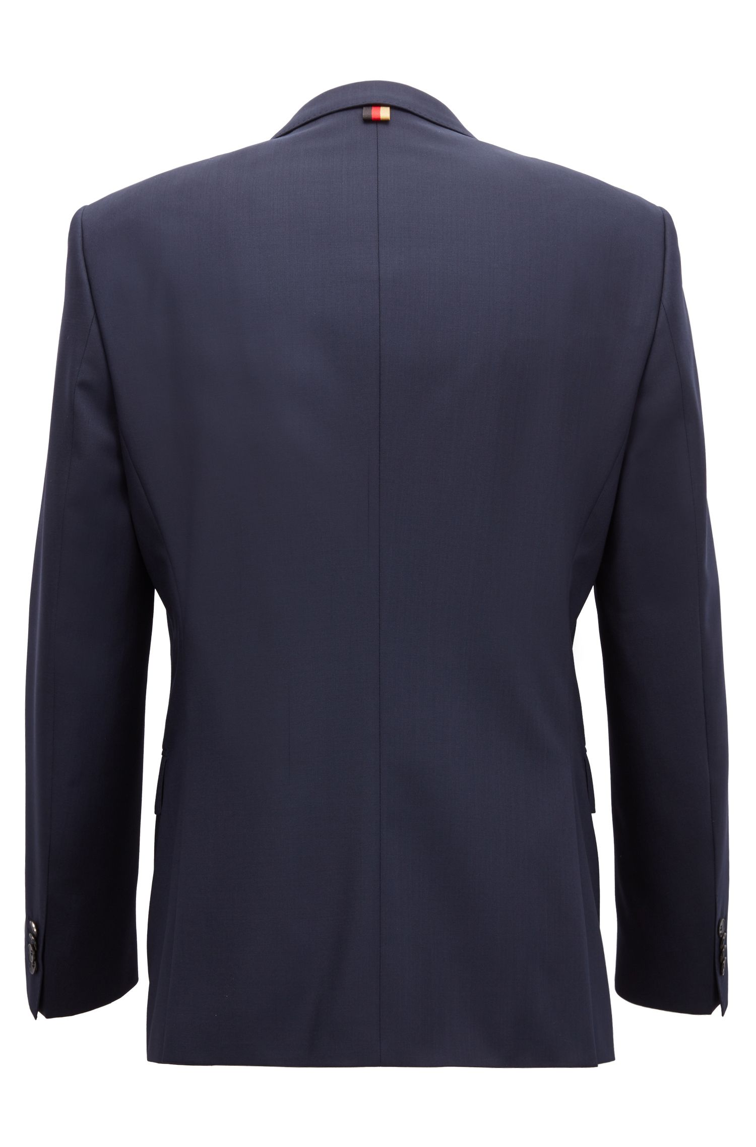 Slim-fit blazer in virgin wool with flag detail, Dark Blue