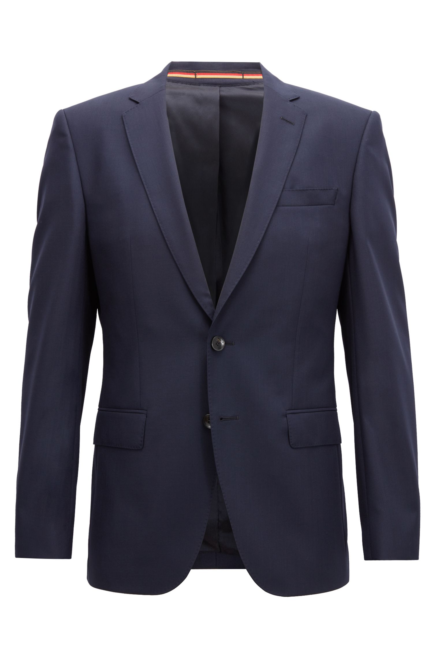 Blazer slim fit in lana vergine, Blu scuro