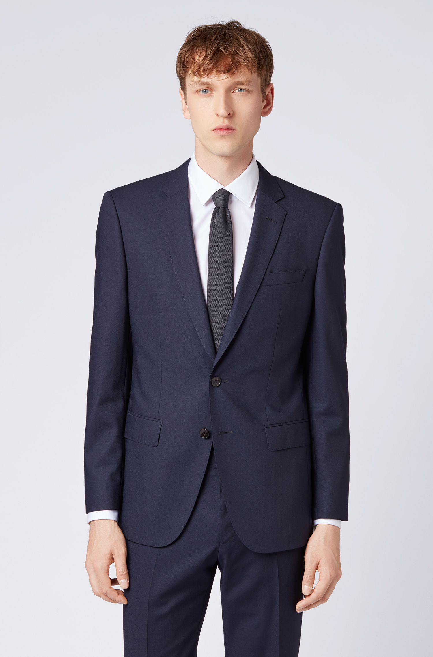 Slim-fit blazer in virgin wool with flag detail