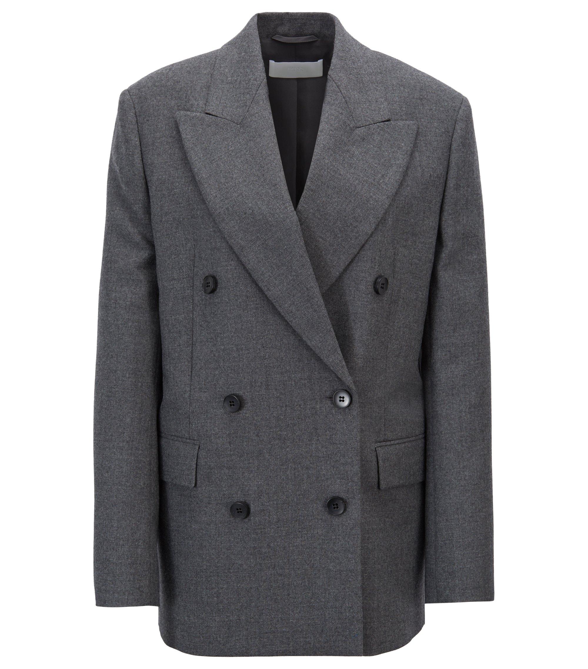 Blazer Oversized Fit croisé en twill de laine vierge, Anthracite