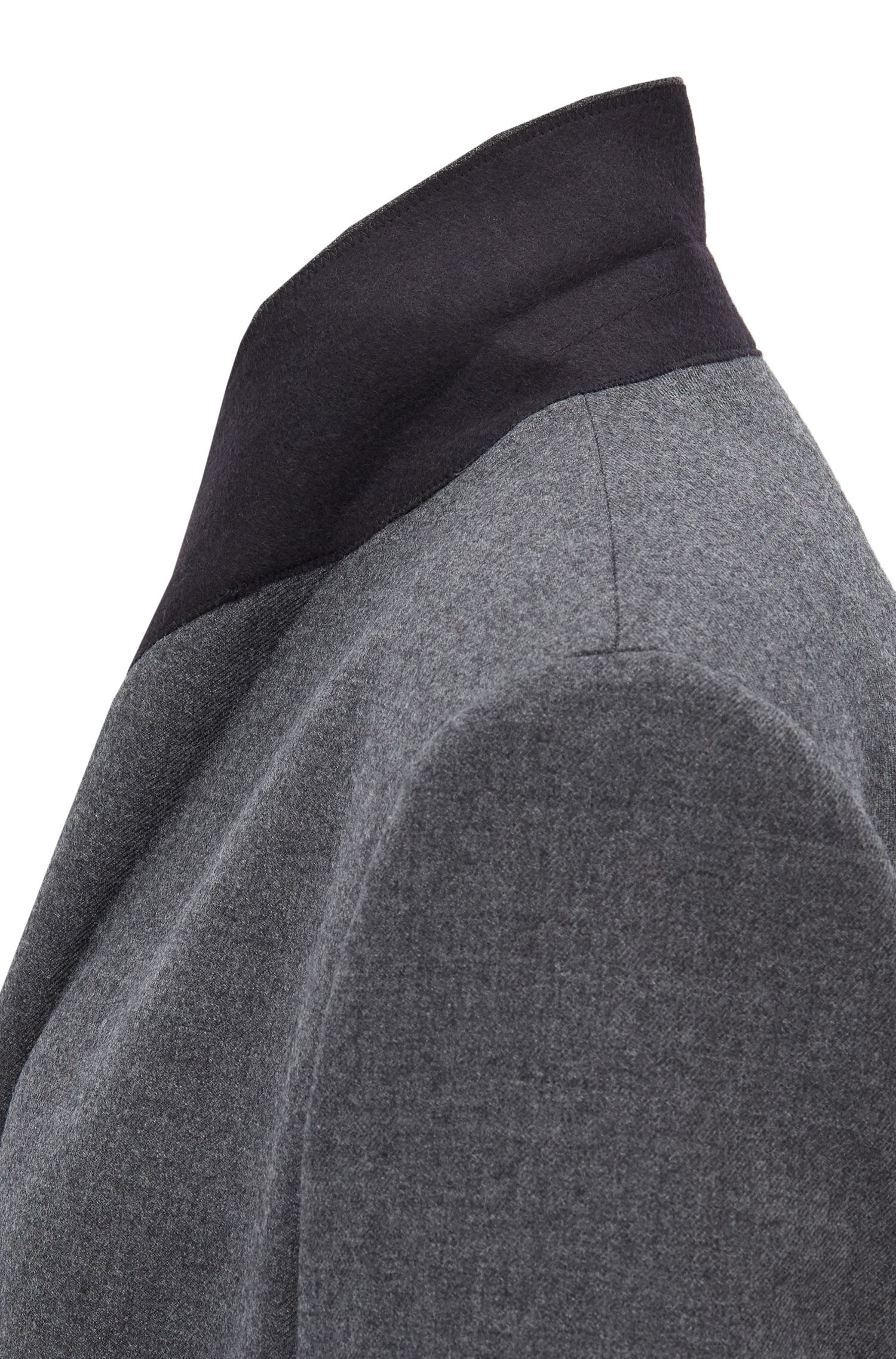 Oversized-fit double-breasted blazer in virgin-wool twill, Anthracite