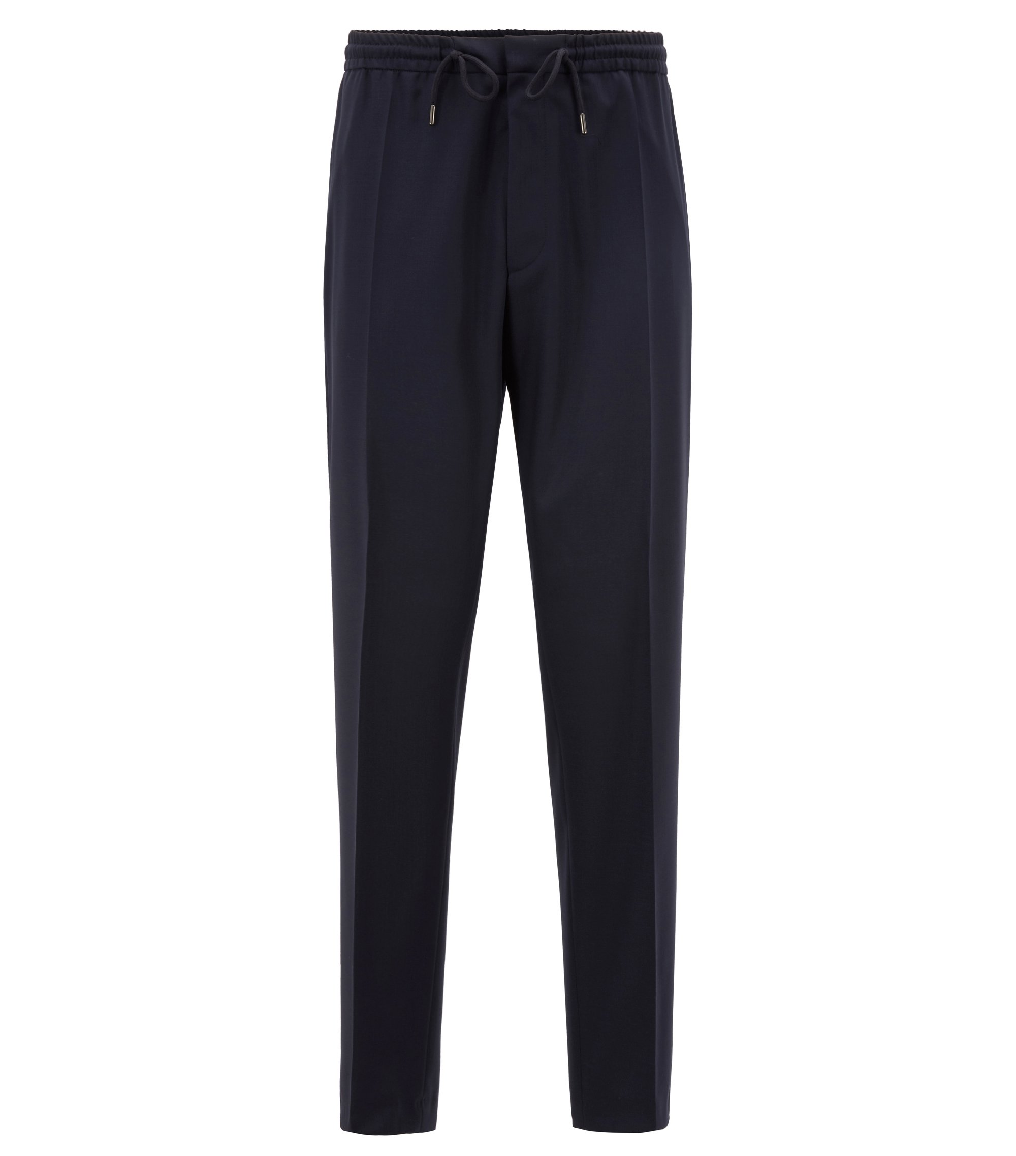 Slim-fit casual trousers in virgin wool, Dark Blue