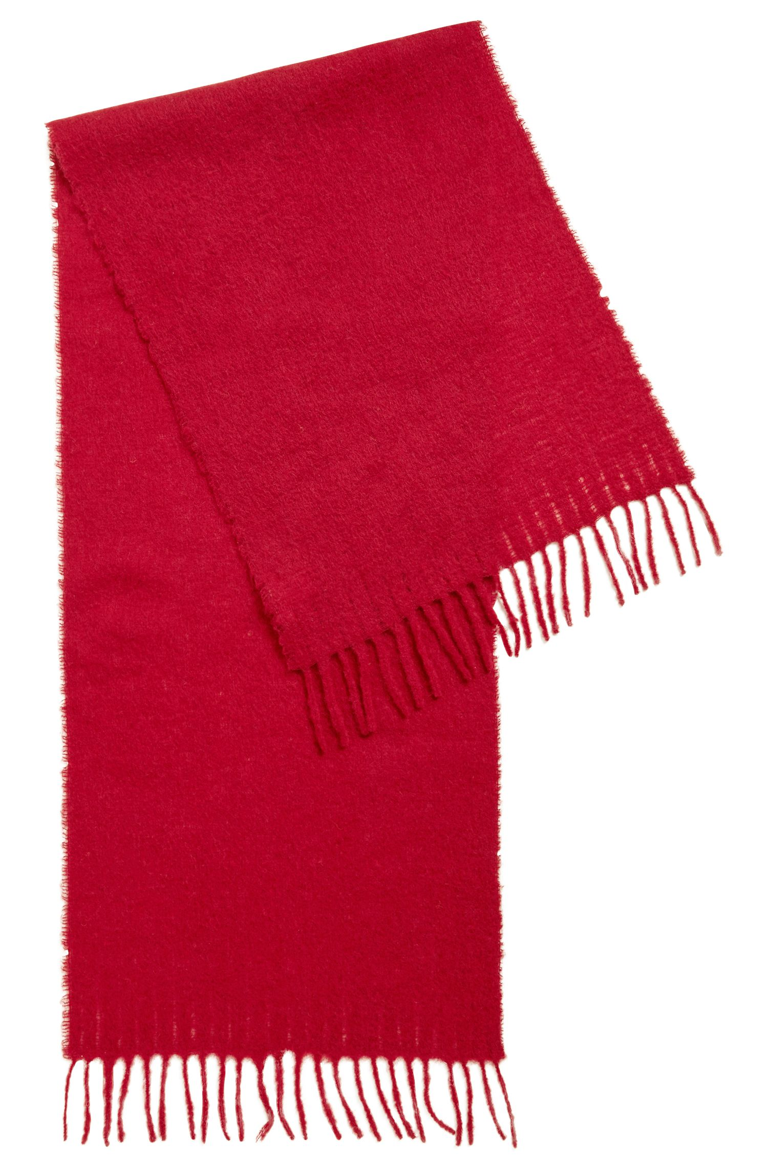 Bufanda tipo manta en mezcla de hilos cepillados, Rojo oscuro