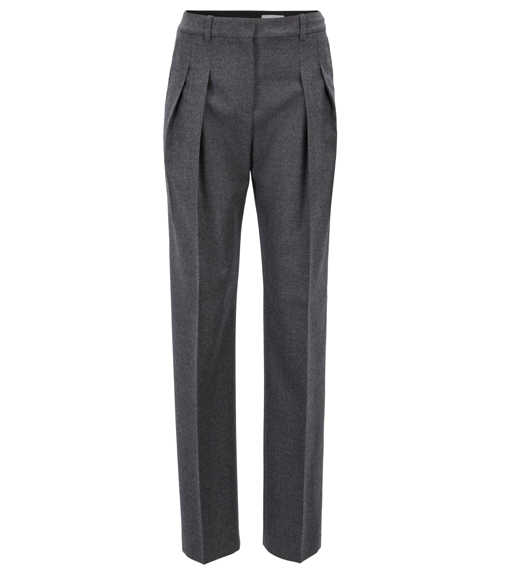 Extra-long wide-leg trousers with pleated front, Anthracite