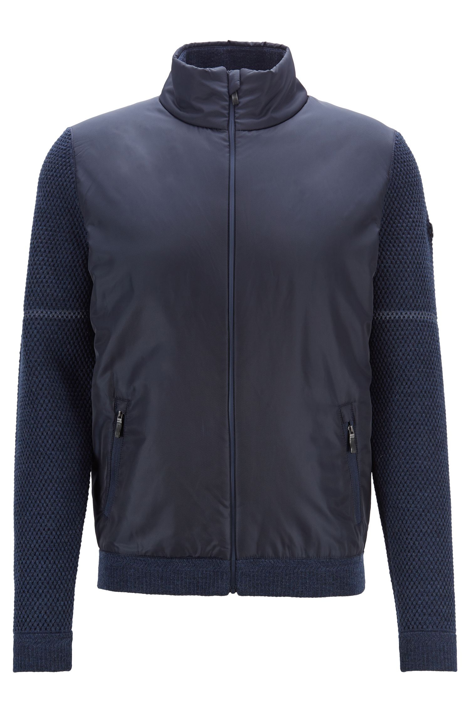 Giacca in lana merino con zip integrale e dettagli tecnici, Blu scuro