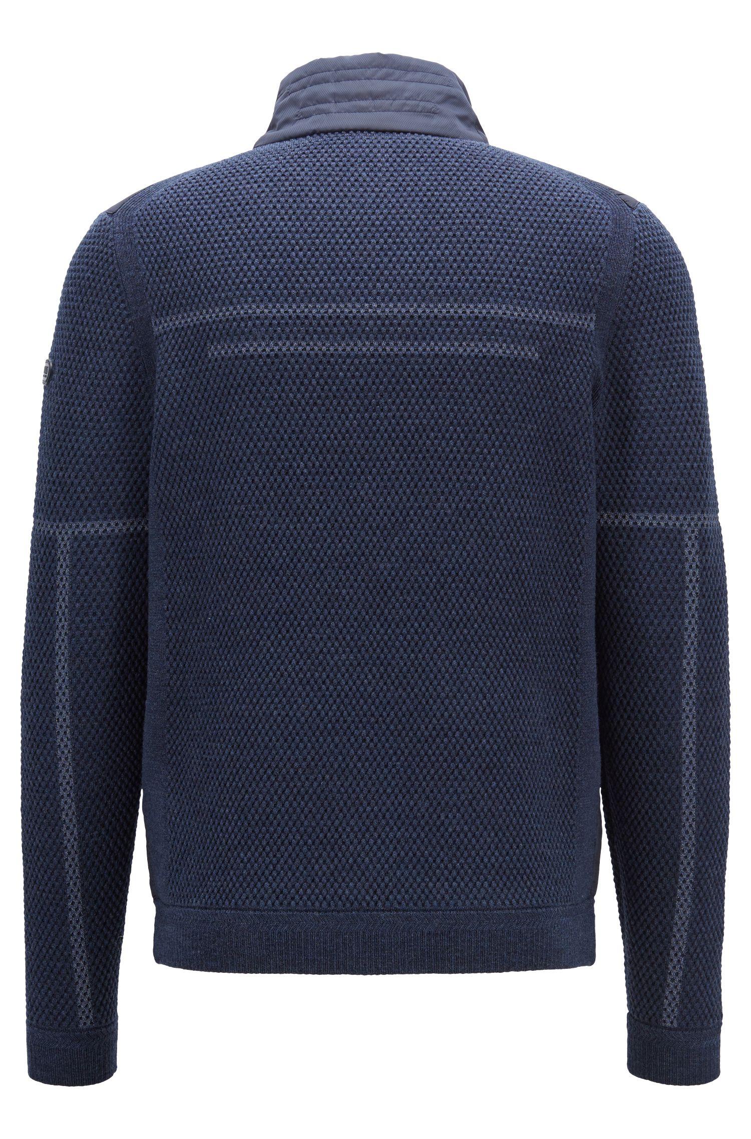 Veste zippée en laine mérinos, avec détails techniques, Bleu foncé