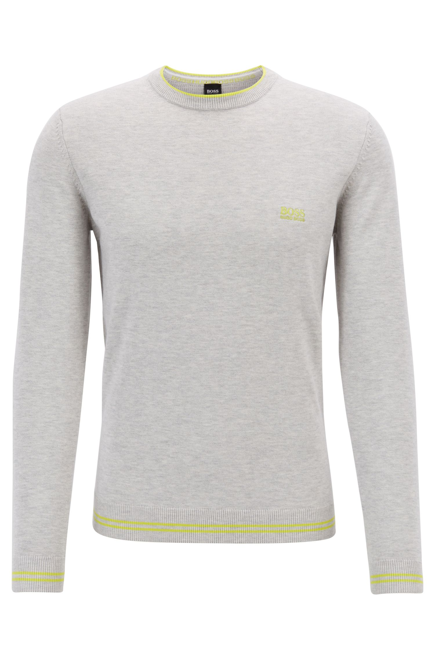 Cotton-blend knitted sweater with tipping stripes, Light Grey