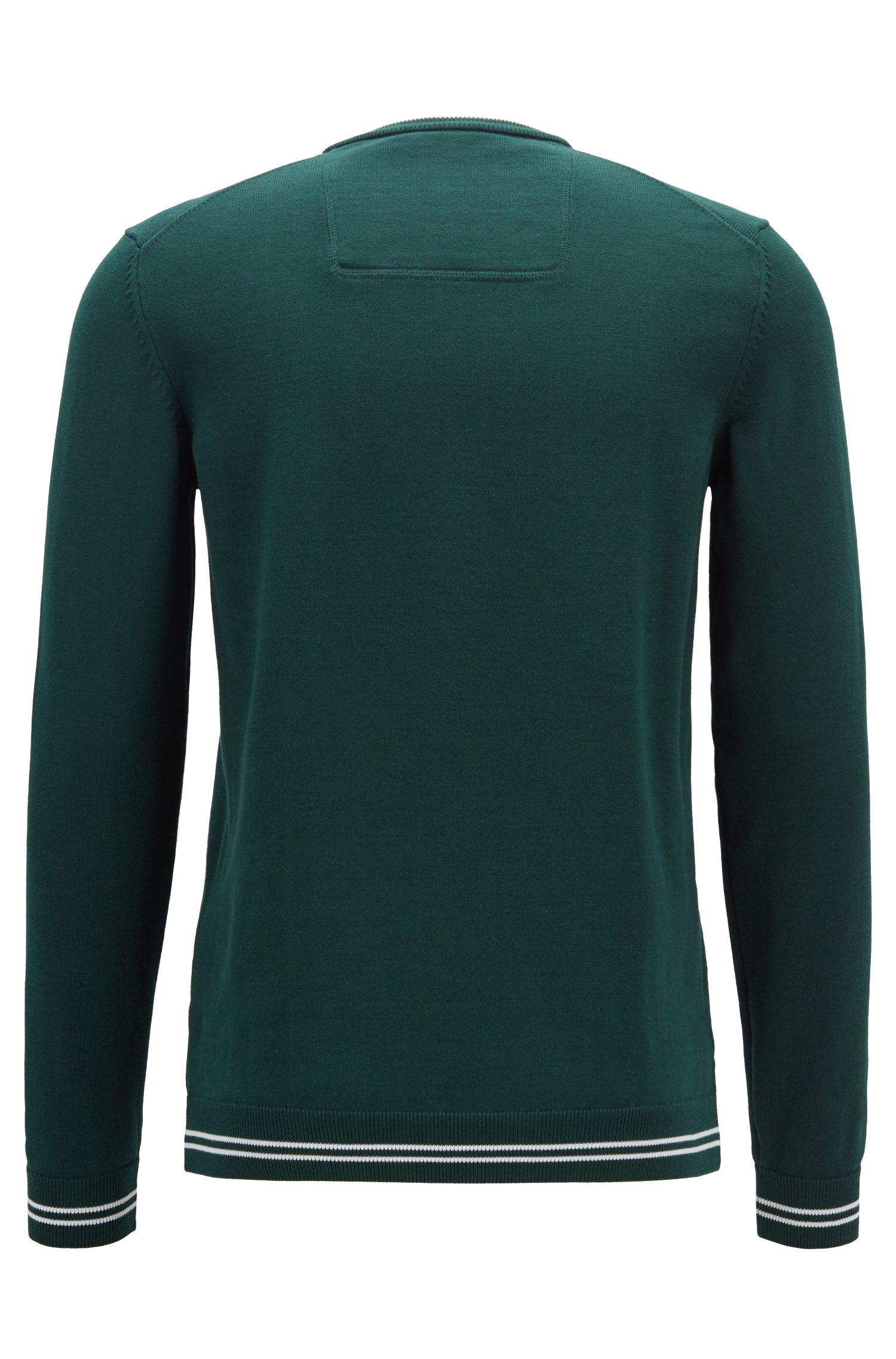 Cotton-blend knitted sweater with tipping stripes, Dark Green