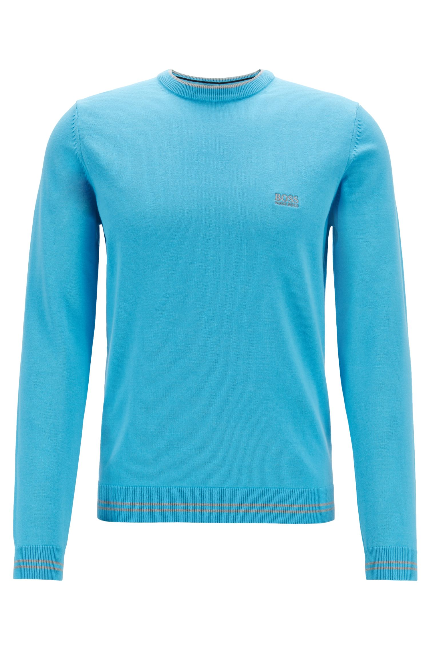 Cotton-blend knitted sweater with tipping stripes, Turquoise