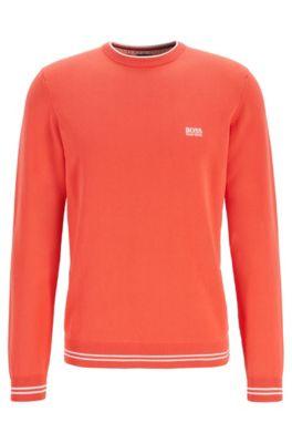 Jersey tejido en mezcla de algodón con ribete de rayas, Naranja