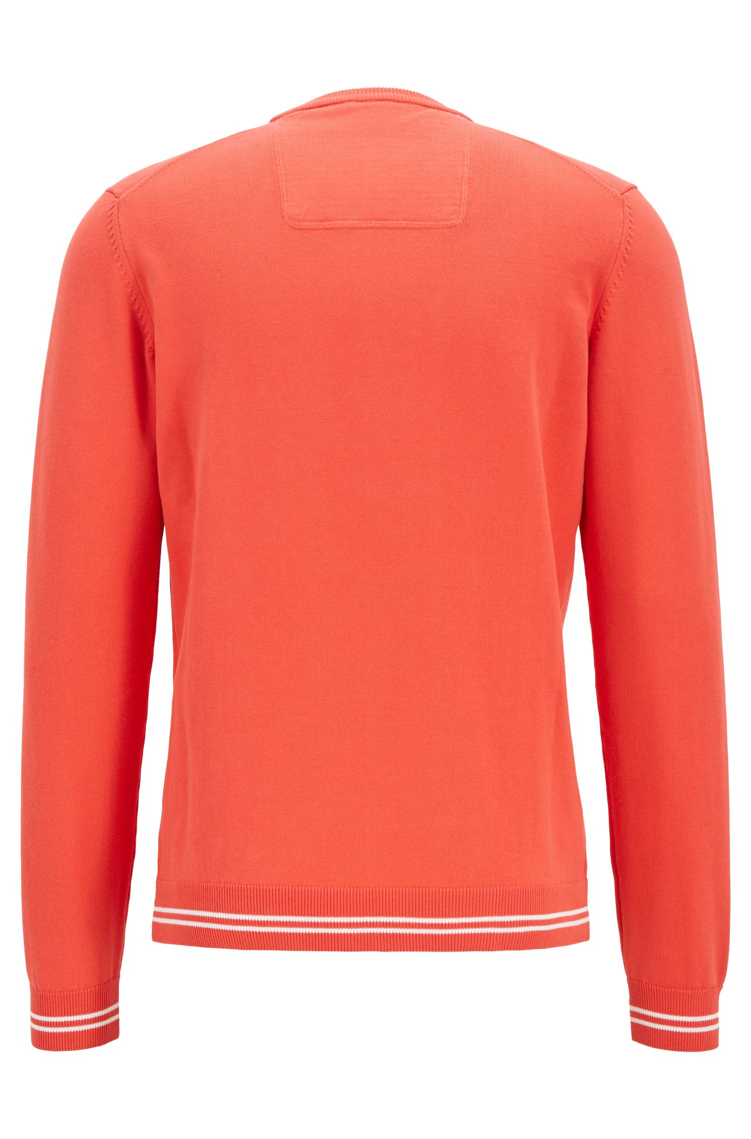 Cotton-blend knitted sweater with tipping stripes, Orange