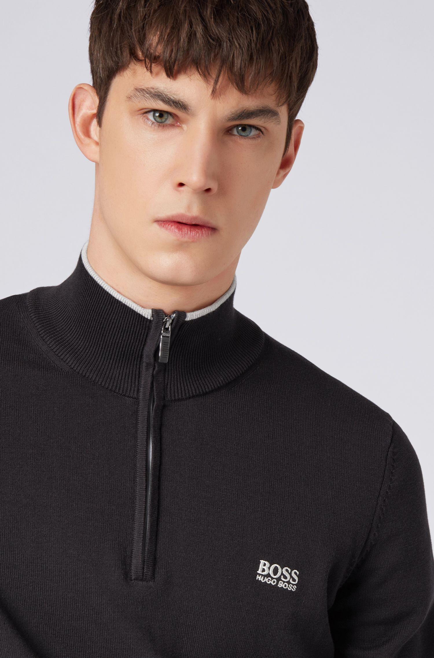 Maglione in misto cotone con profili a contrasto e colletto con zip , Nero