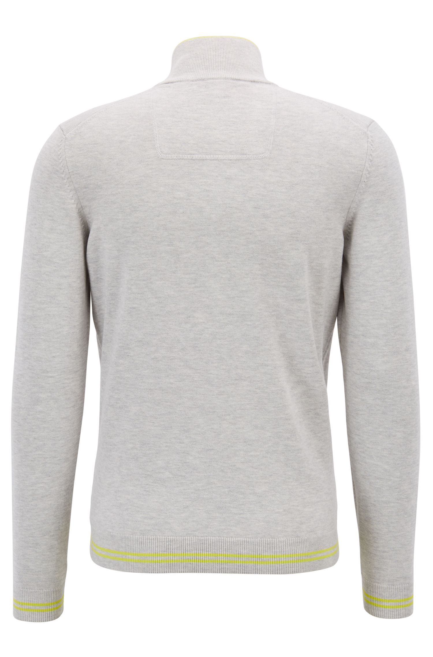 Pullover aus Baumwoll-Mix mit Troyerkragen und Kontrast-Streifen , Hellgrau