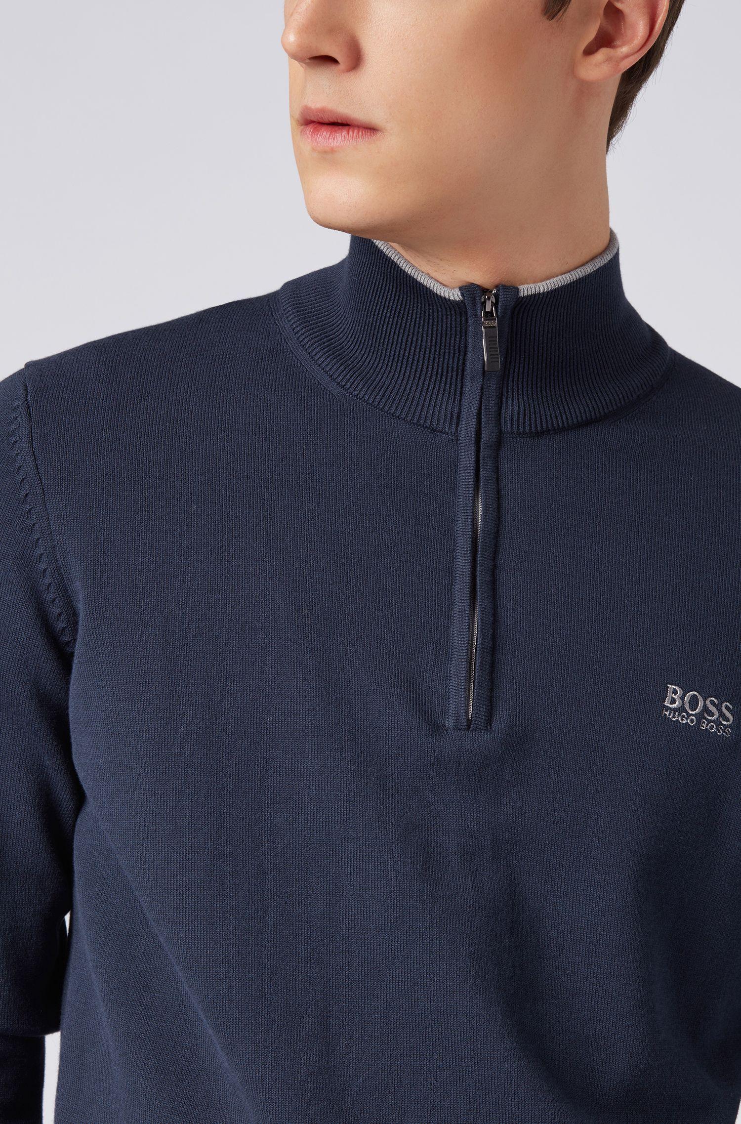 Pull à col zippé en coton mélangé aux bordures contrastantes , Bleu foncé