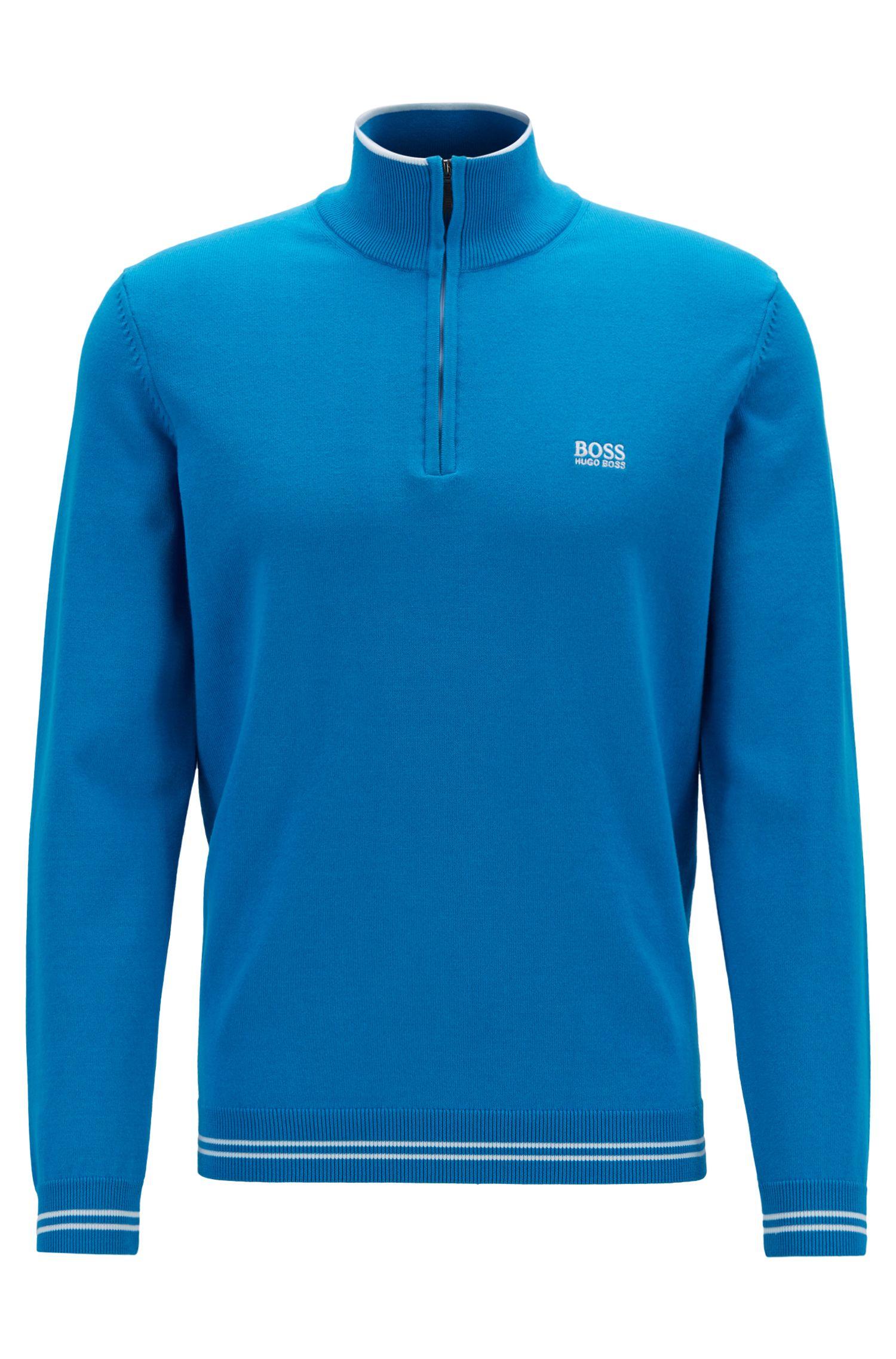 Jersey con cremallera en mezcla de algodón con ribetes en contraste , Azul