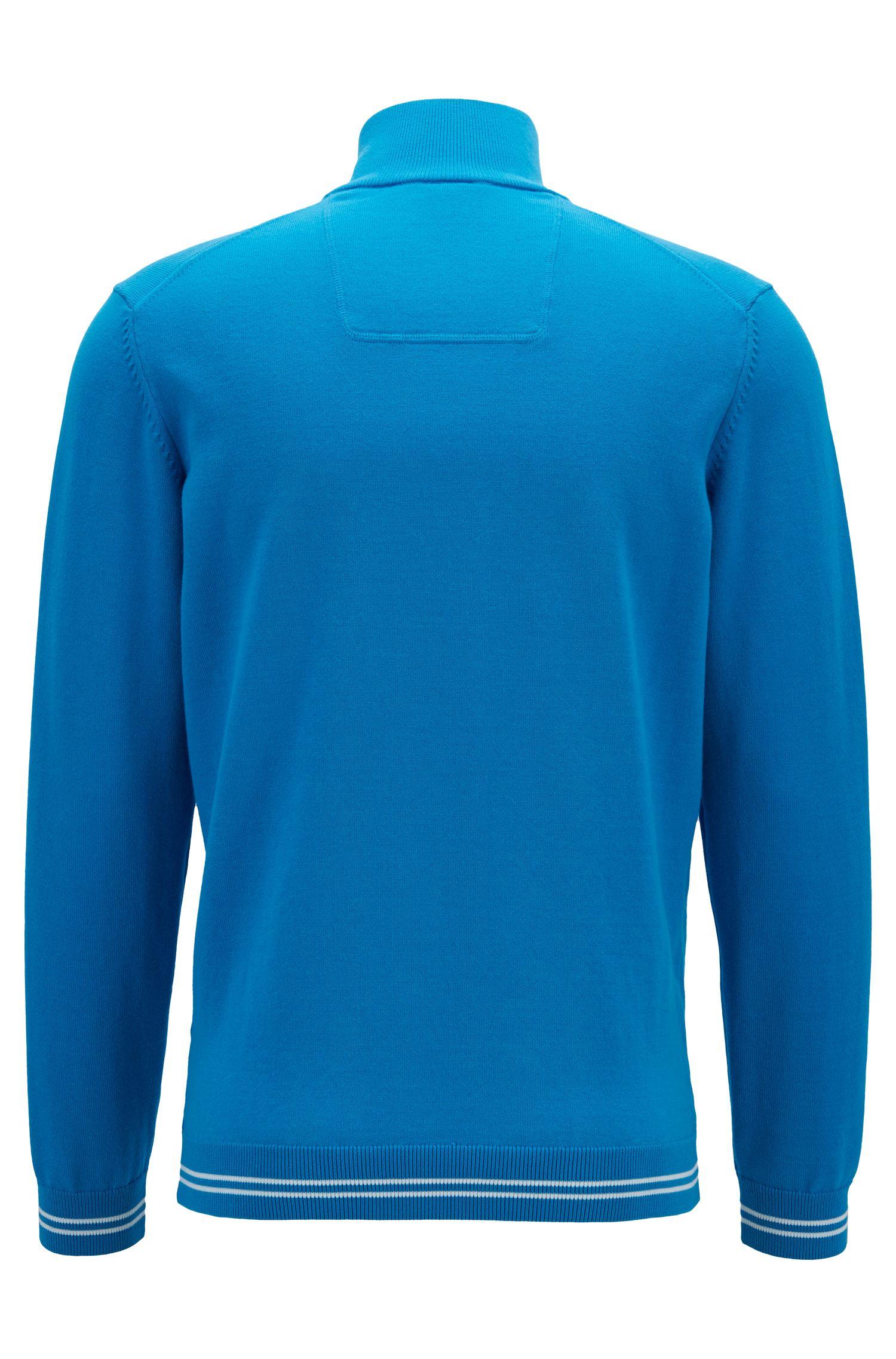 Pullover aus Baumwoll-Mix mit Troyerkragen und Kontrast-Streifen , Blau