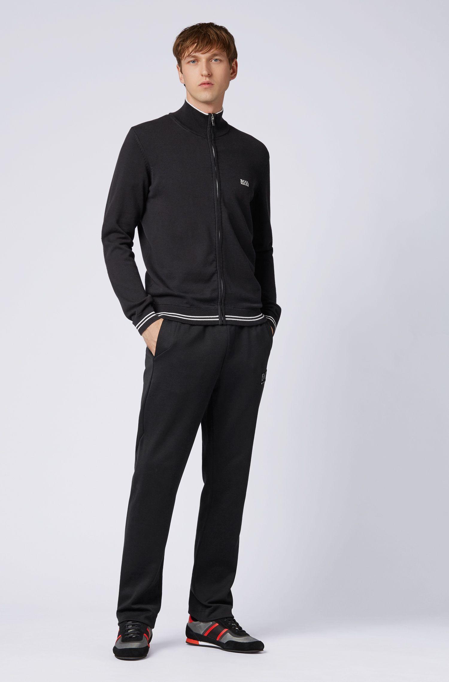 Cardigan zippé avec bordures contrastantes et détails structurés, Noir
