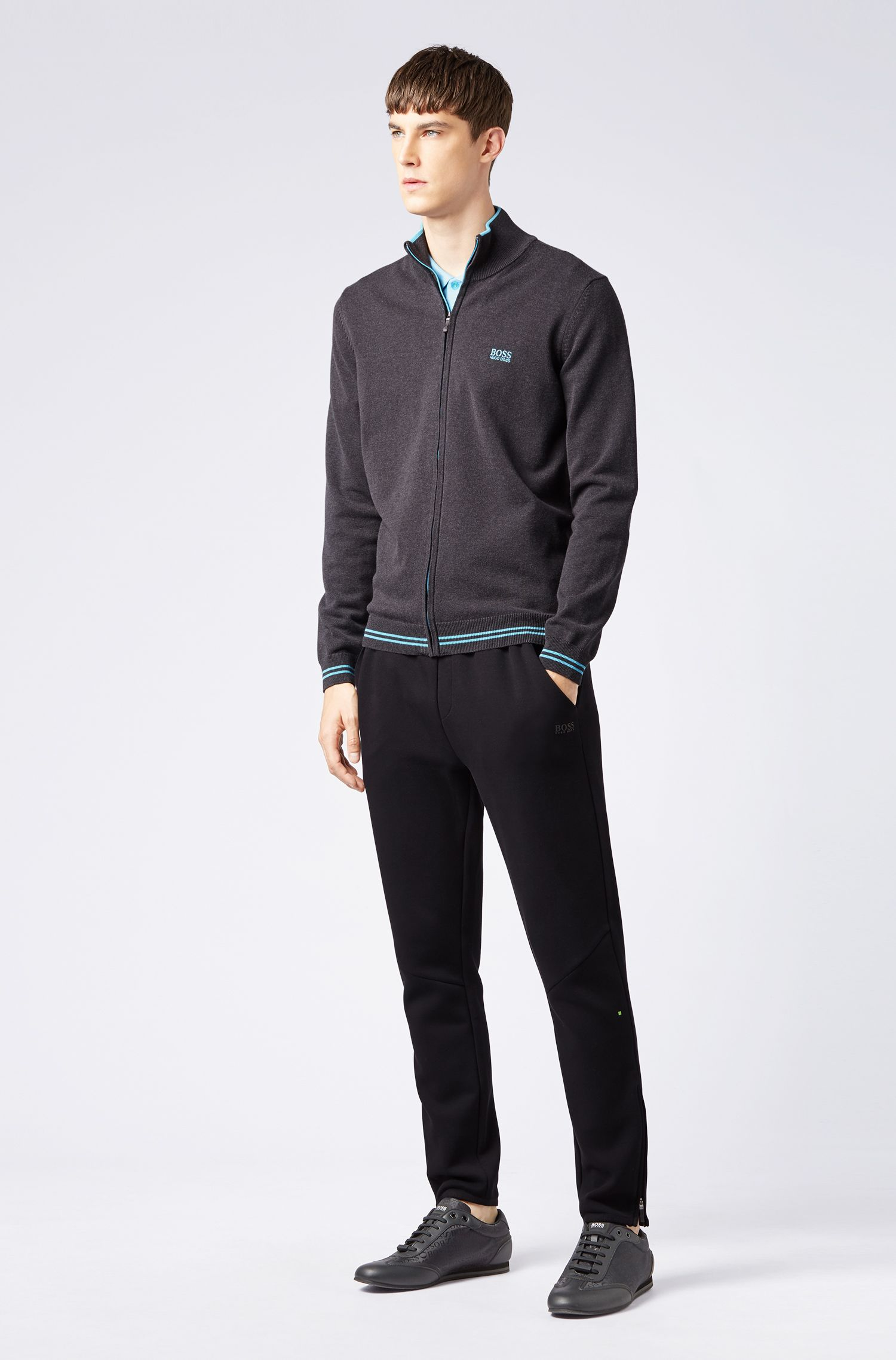 Zip-through cardigan with contrast tipping and structured details, Anthracite