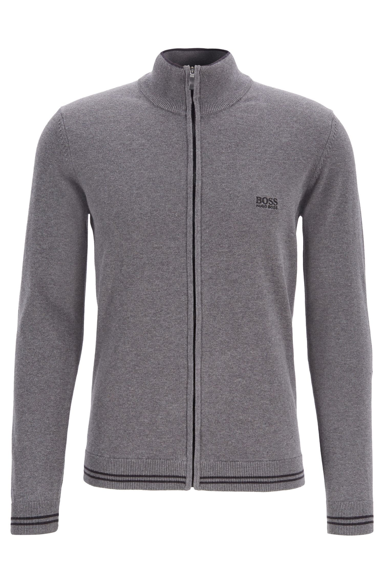 Zip-through cardigan with contrast tipping and structured details, Grey