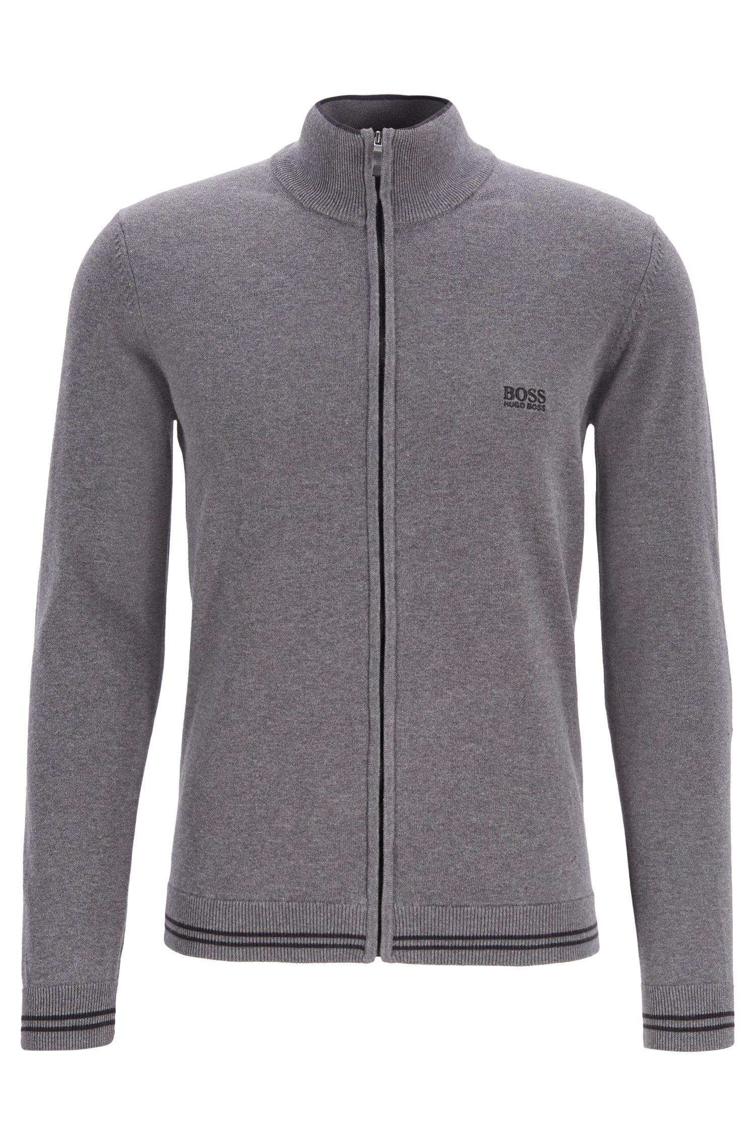 Cardigan zippé avec bordures contrastantes et détails structurés, Gris