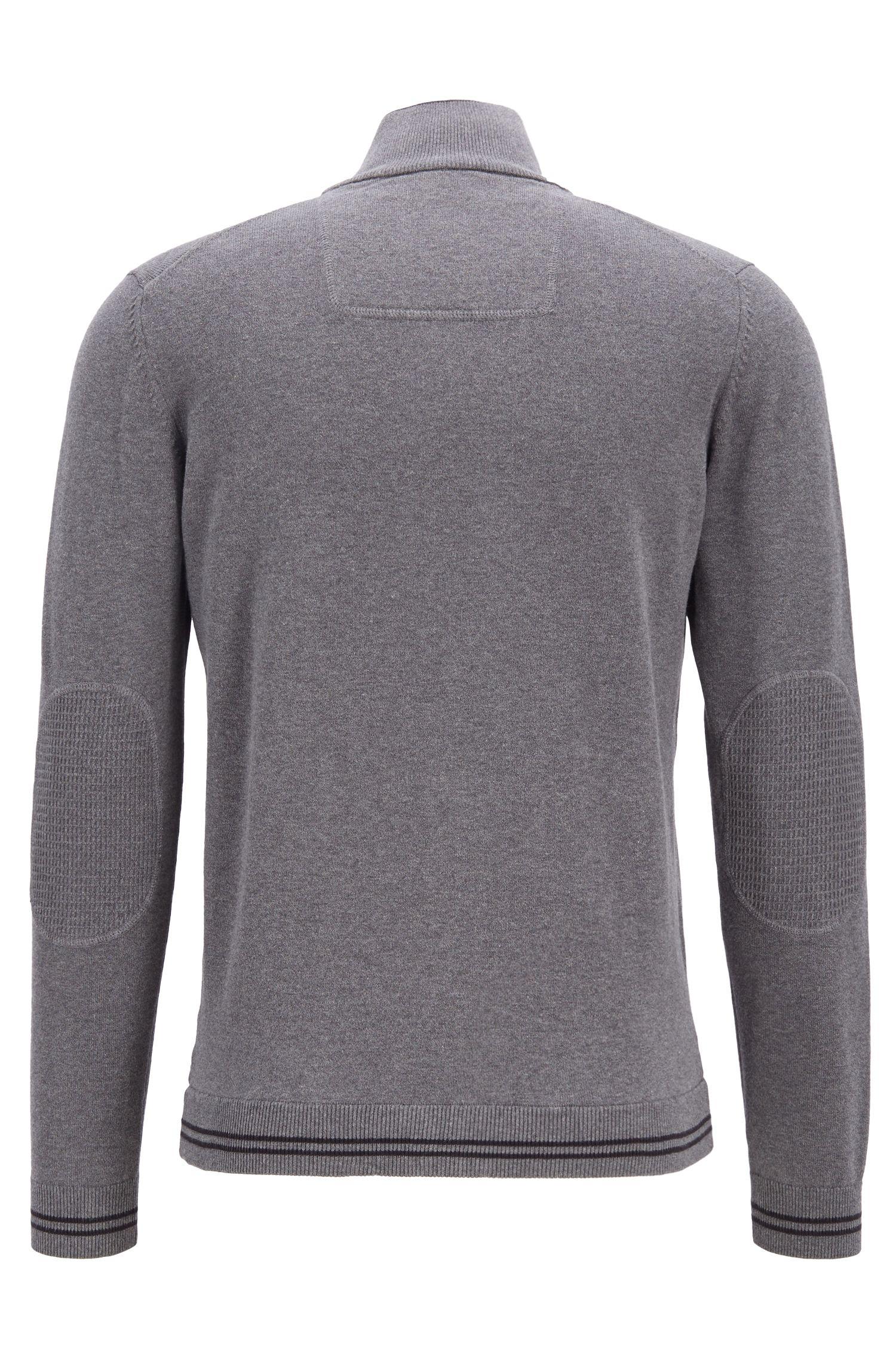 Cardigan con zip integrale, profili a contrasto e dettagli strutturati, Grigio