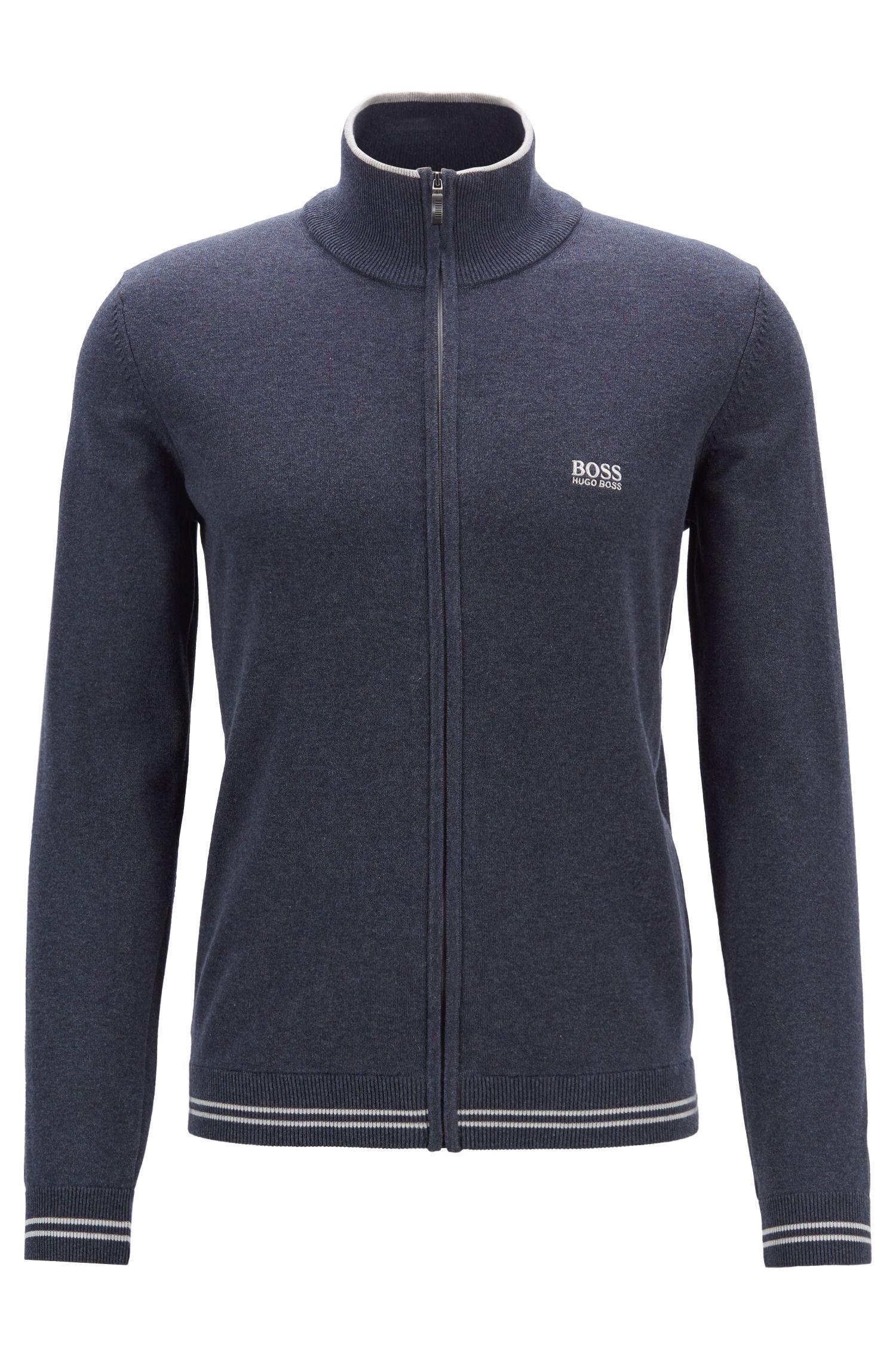 Cardigan zippé avec bordures contrastantes et détails structurés, Bleu foncé