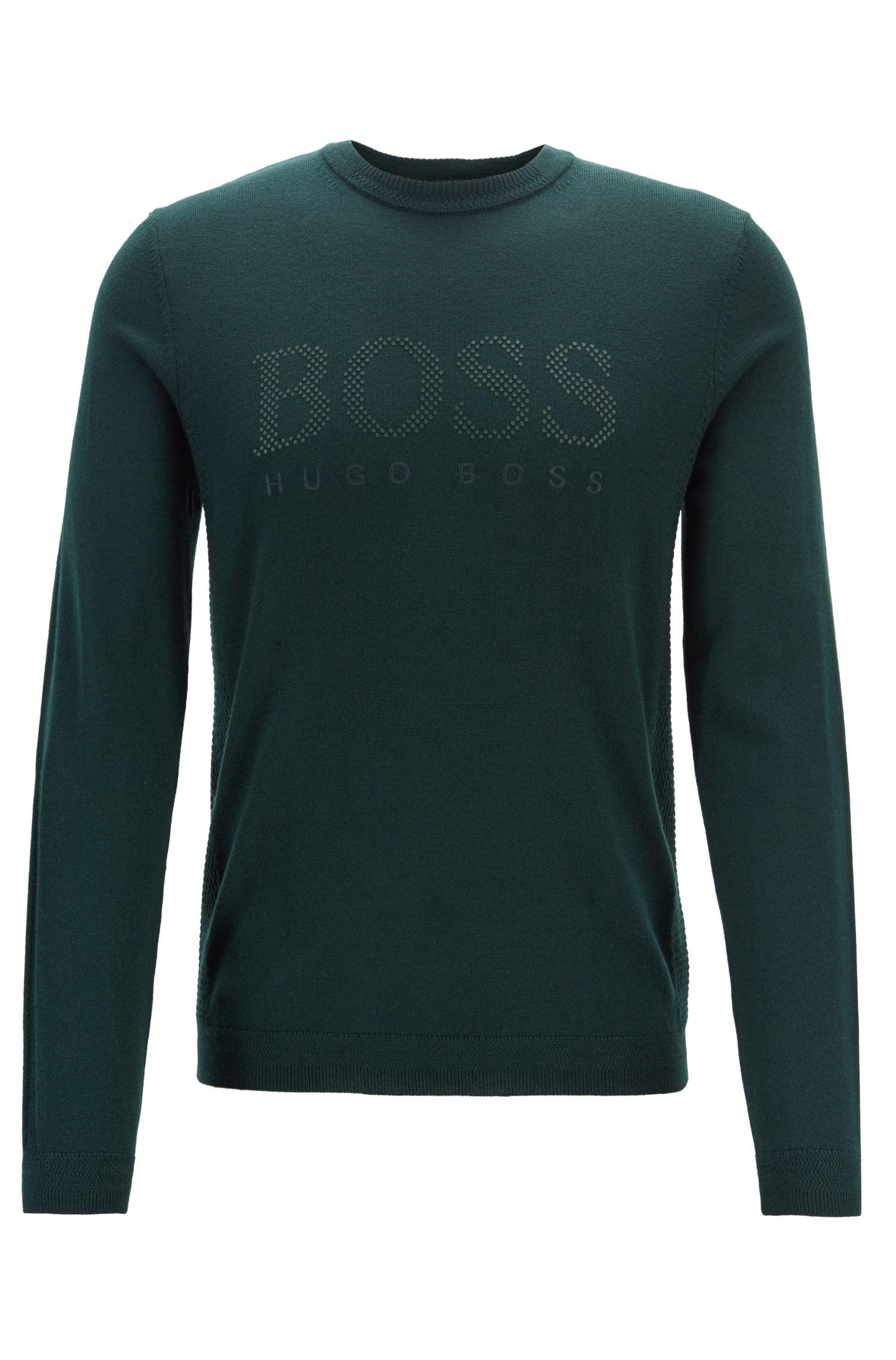 Jersey de cuello redondo en lana merina con paneles de punto, Verde oscuro