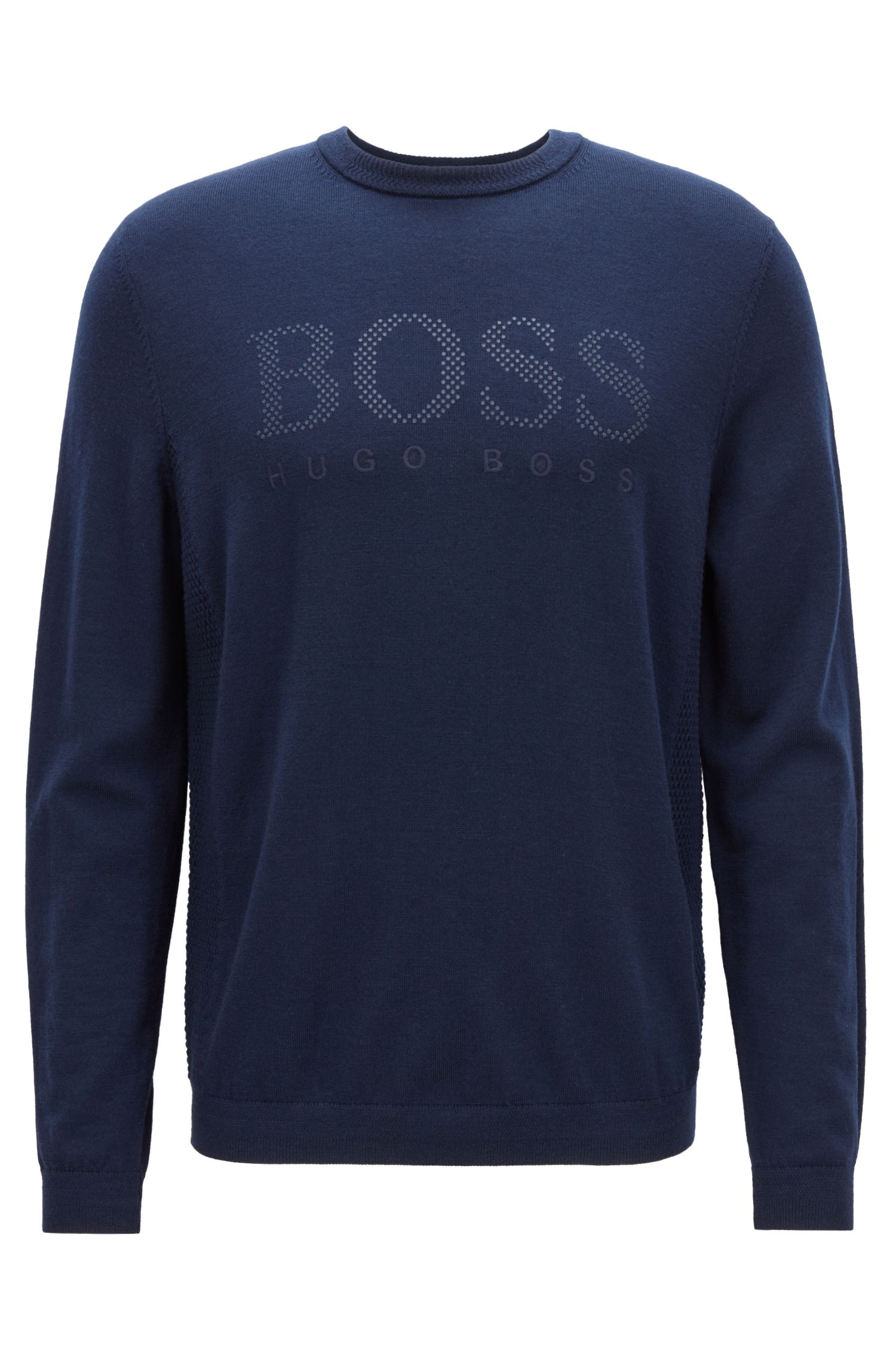 Crew-neck sweater in merino wool with knitted panels, Dark Blue