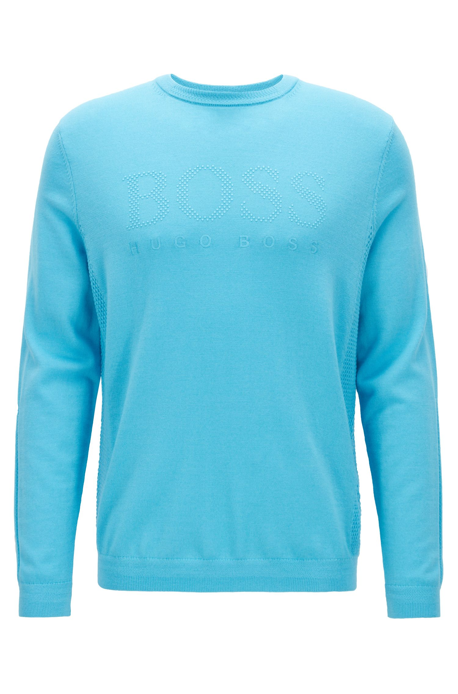 Crew-neck sweater in merino wool with knitted panels, Turquoise