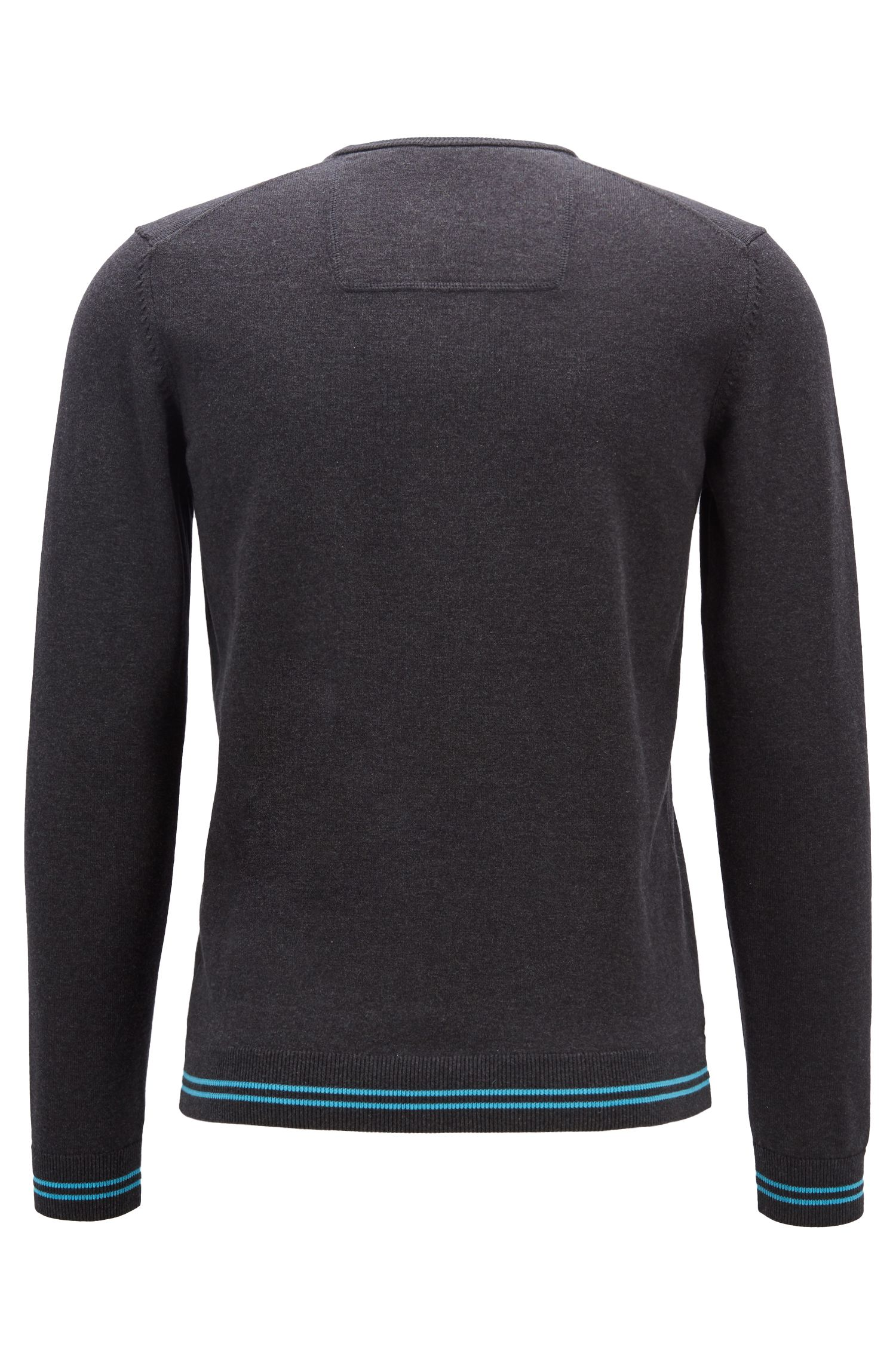 Regular-fit knitted sweater with inner-collar logo intarsia, Anthracite