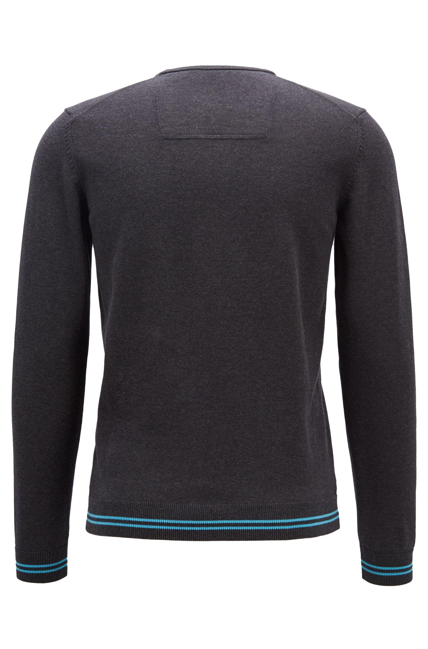 Jersey regular fit de punto con diseño intarsia y logo en el interior del cuello, Gris marengo