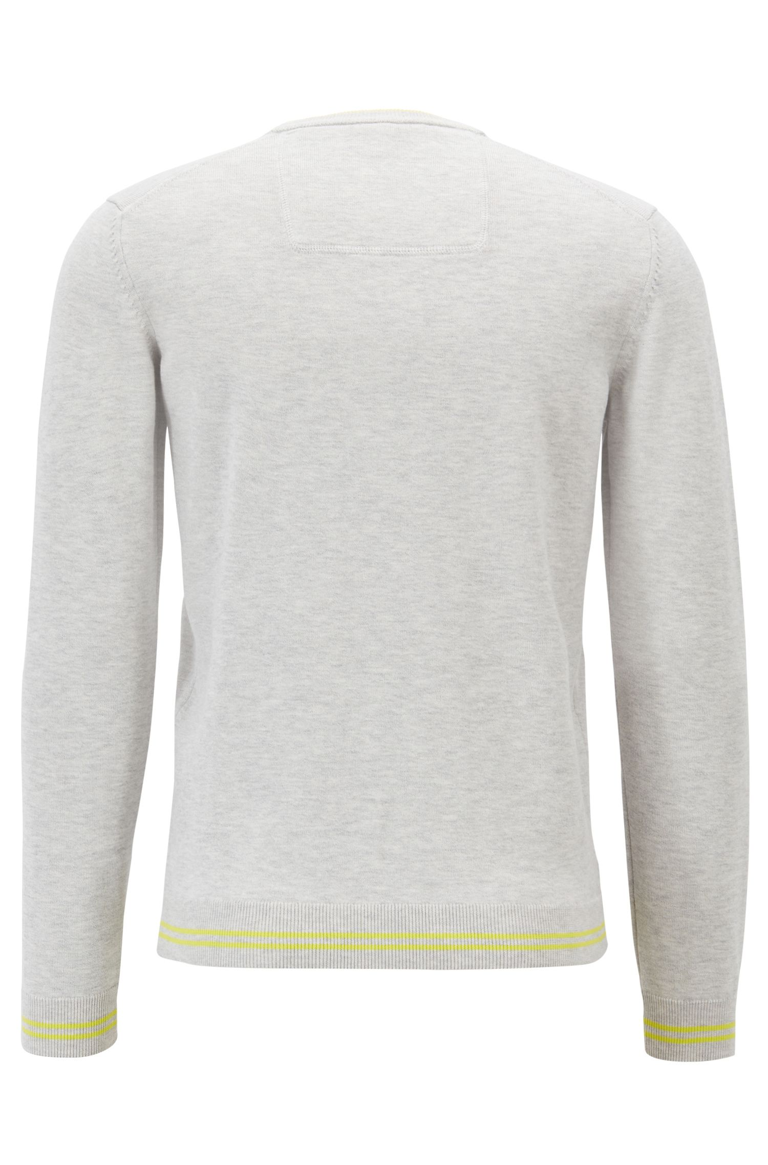 Regular-fit knitted sweater with inner-collar logo intarsia, Light Grey