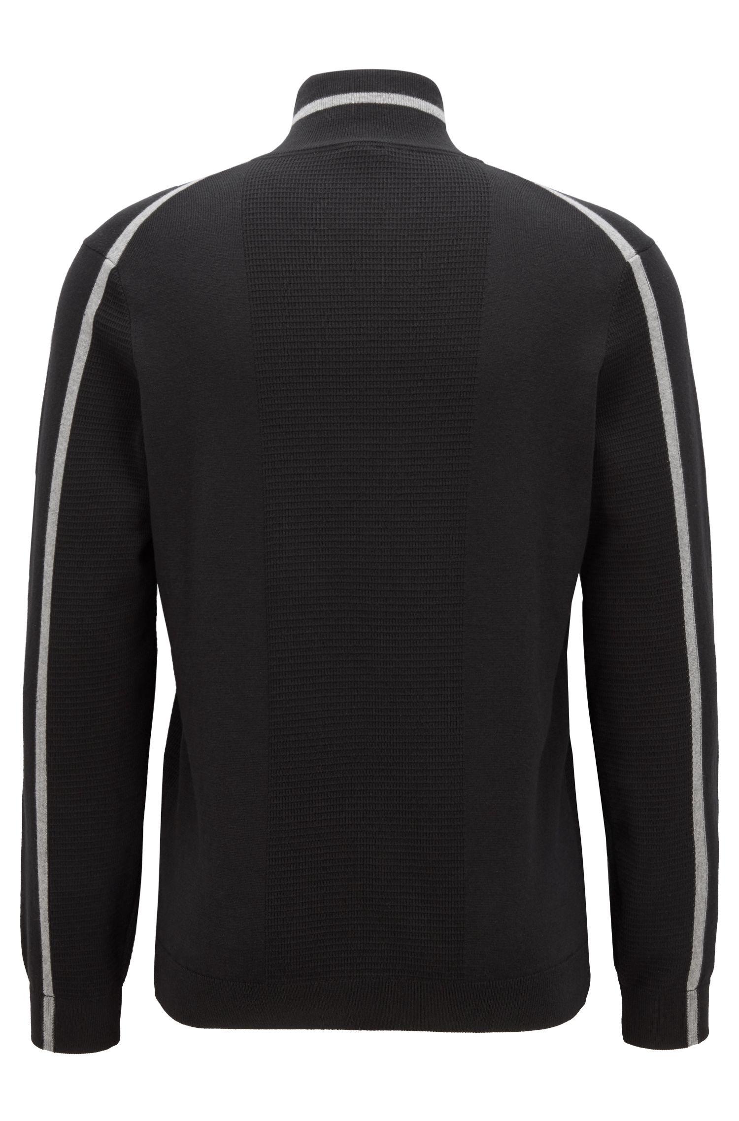 Pullover aus elastischem Bio-Baumwoll-Mix mit Troyerkragen, Schwarz