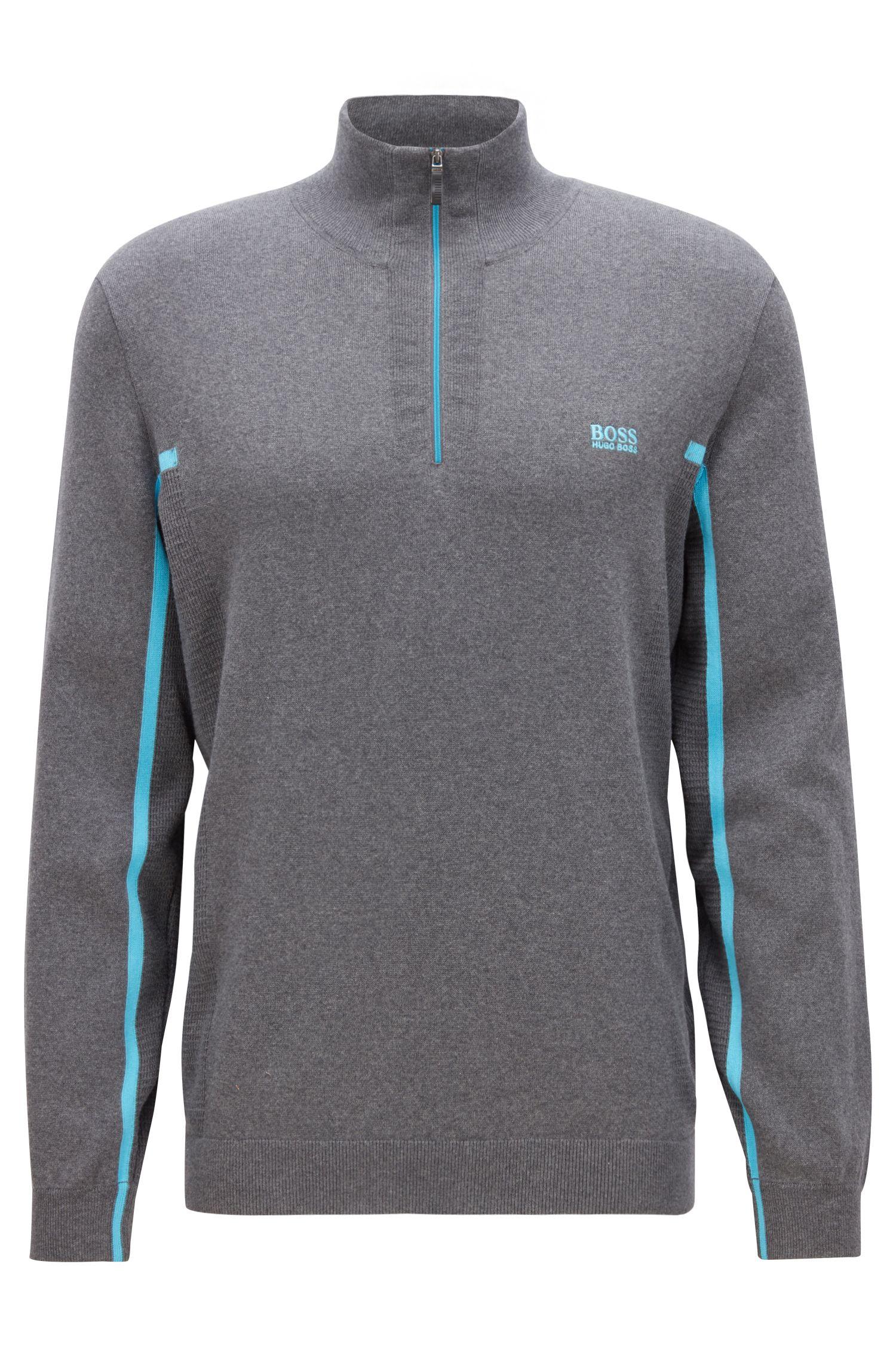 Zip-neck sweater in an organic-cotton blend, Grey