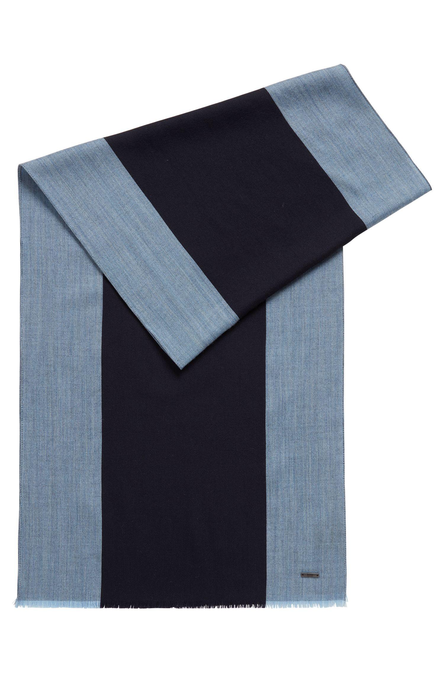 Lightweight scarf in a wool blend with engineered stripes, Dark Blue