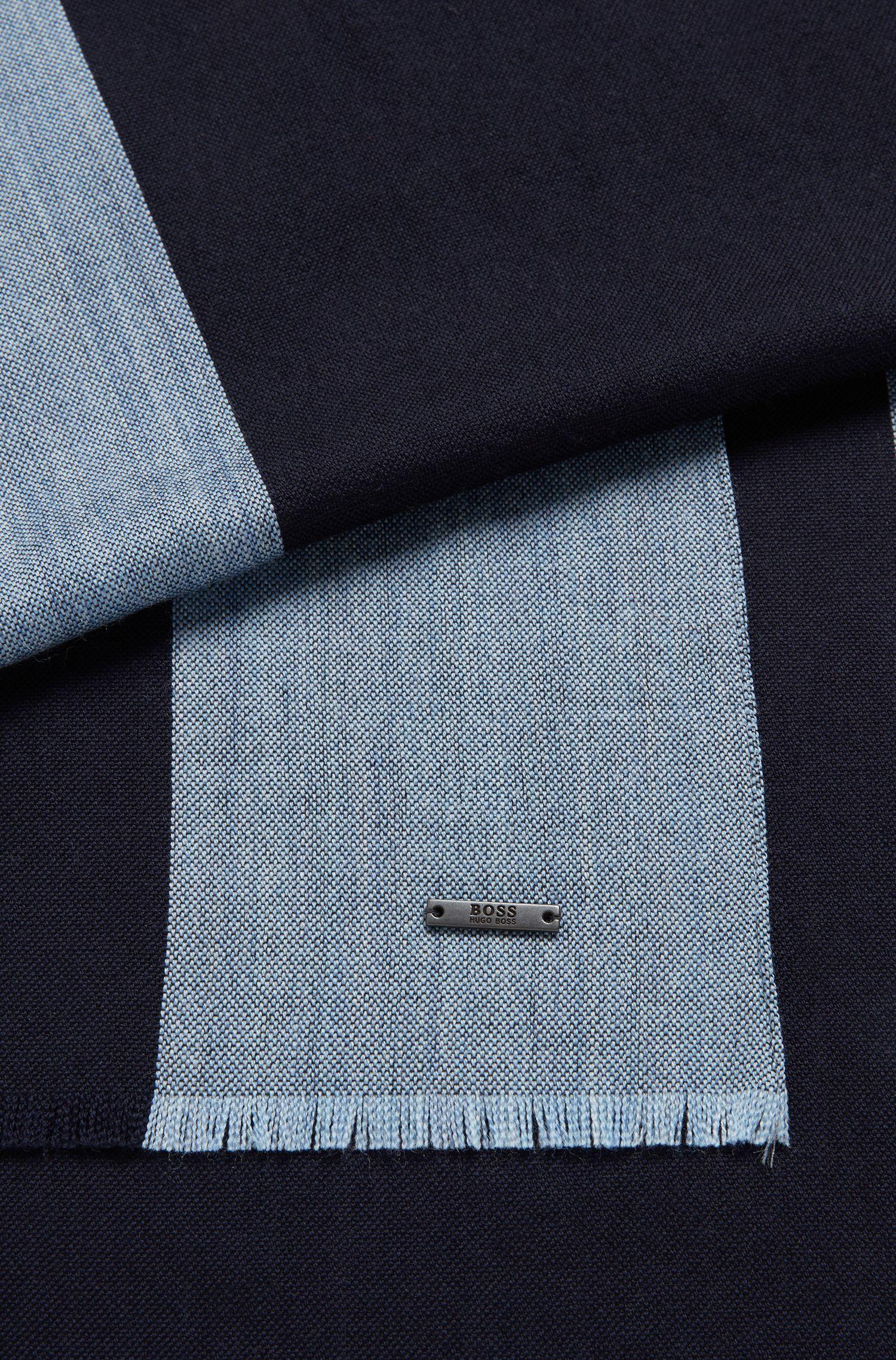 Schal aus leichtem Schurwoll-Mix mit mit Streifen-Dessin, Dunkelblau