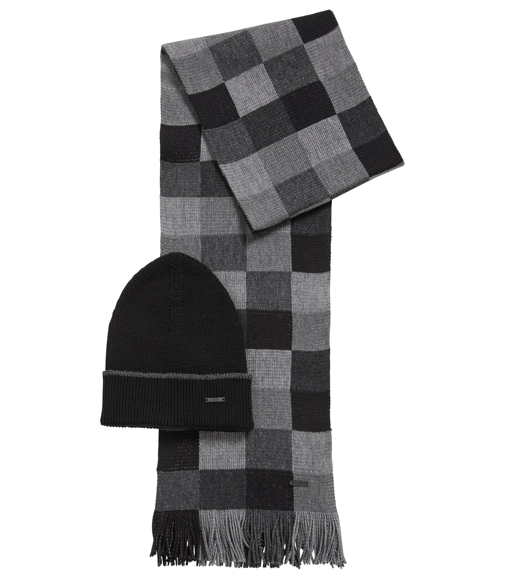 Gift-boxed scarf and hat in pure wool, Black