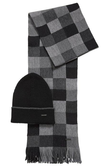 Coffret cadeau avec écharpe et bonnet, en pure laine, Noir