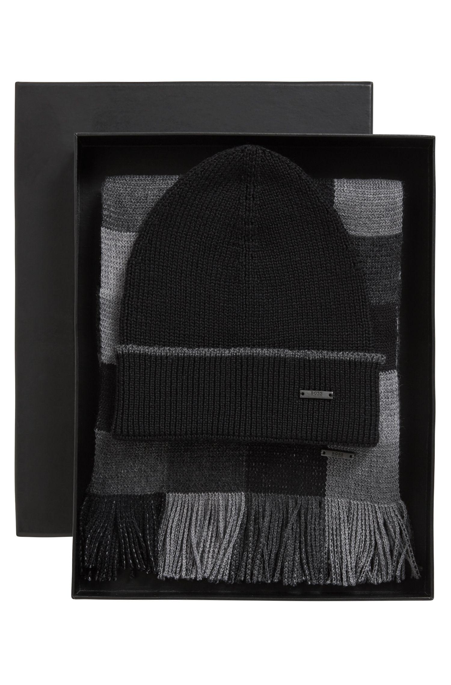 Bufanda y gorro de pura lana en caja de regalo, Negro