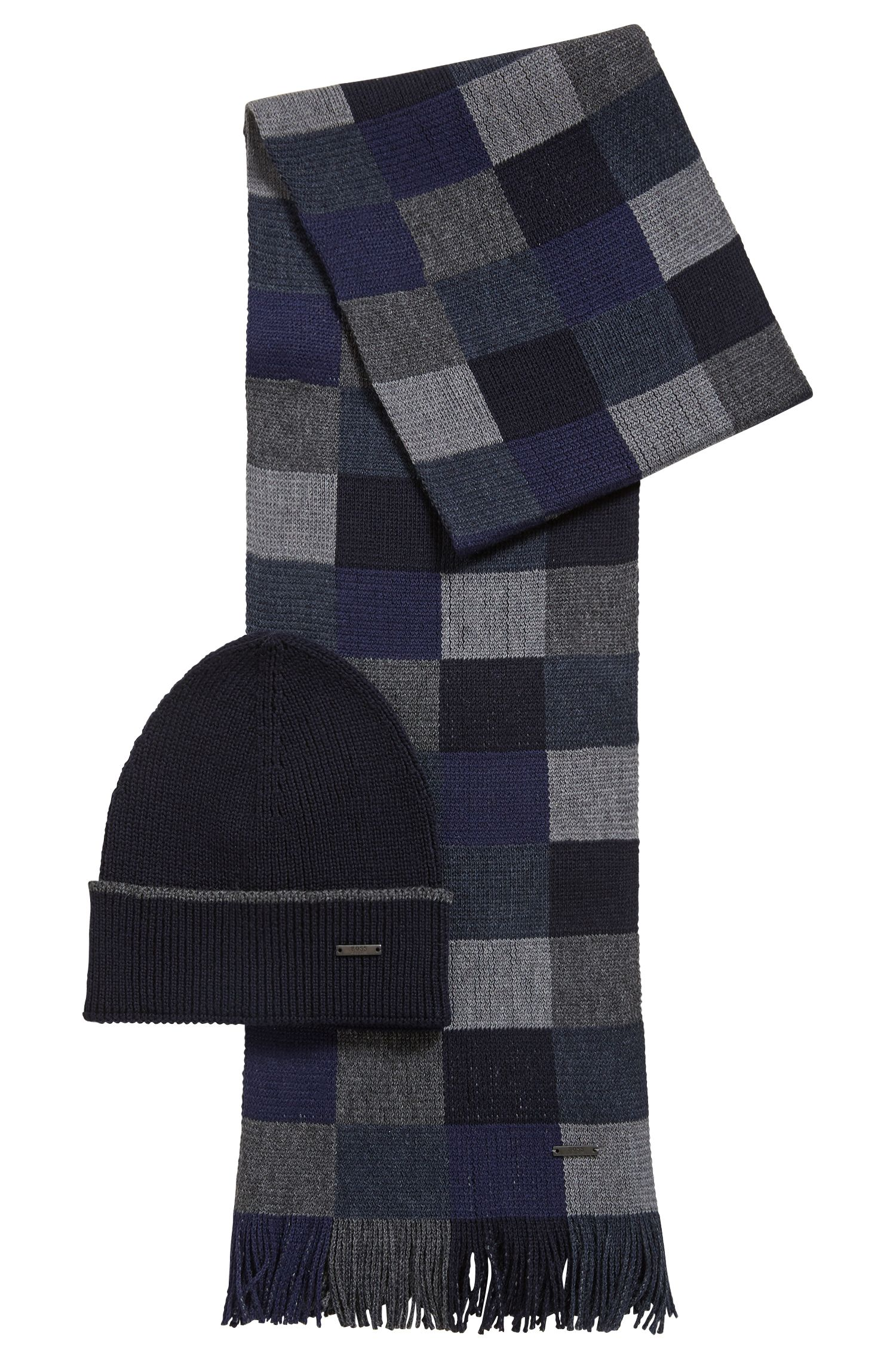 Gift-boxed scarf and hat in pure wool, Dark Blue