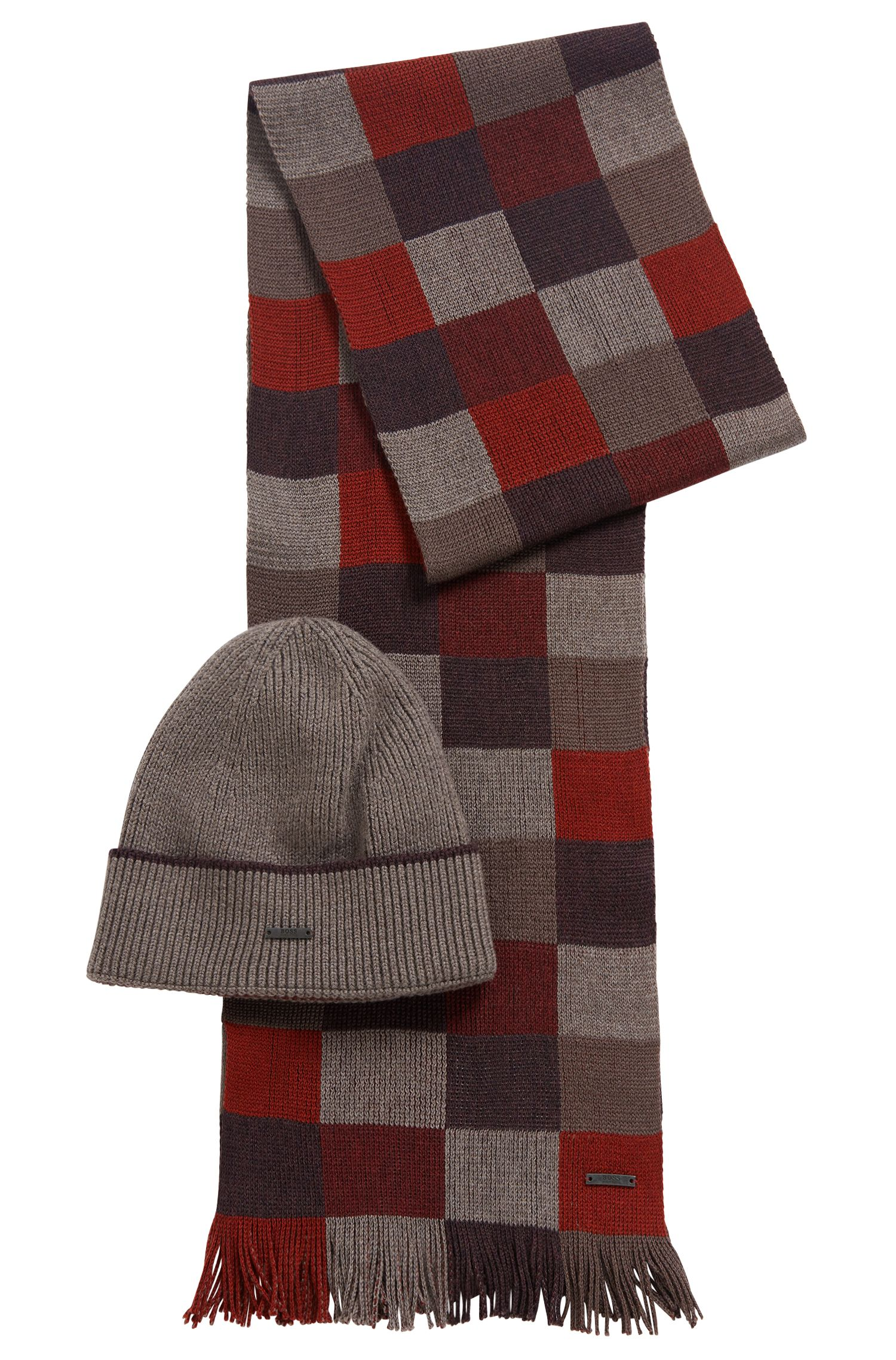 Gift-boxed scarf and hat in pure wool, Dark Red