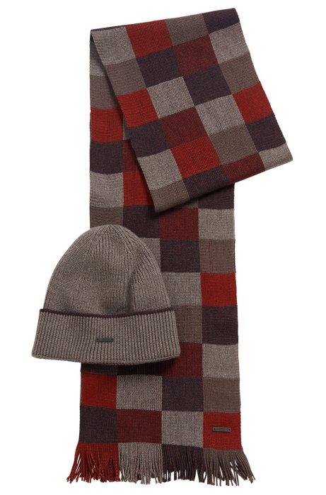 Coffret cadeau avec écharpe et bonnet, en pure laine, Rouge sombre